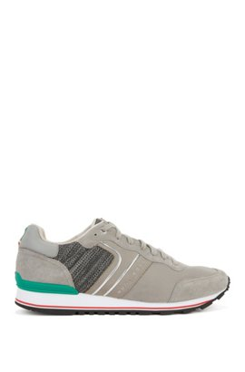 Lightweight suede, knit and mesh trainers with flag colours BOSS