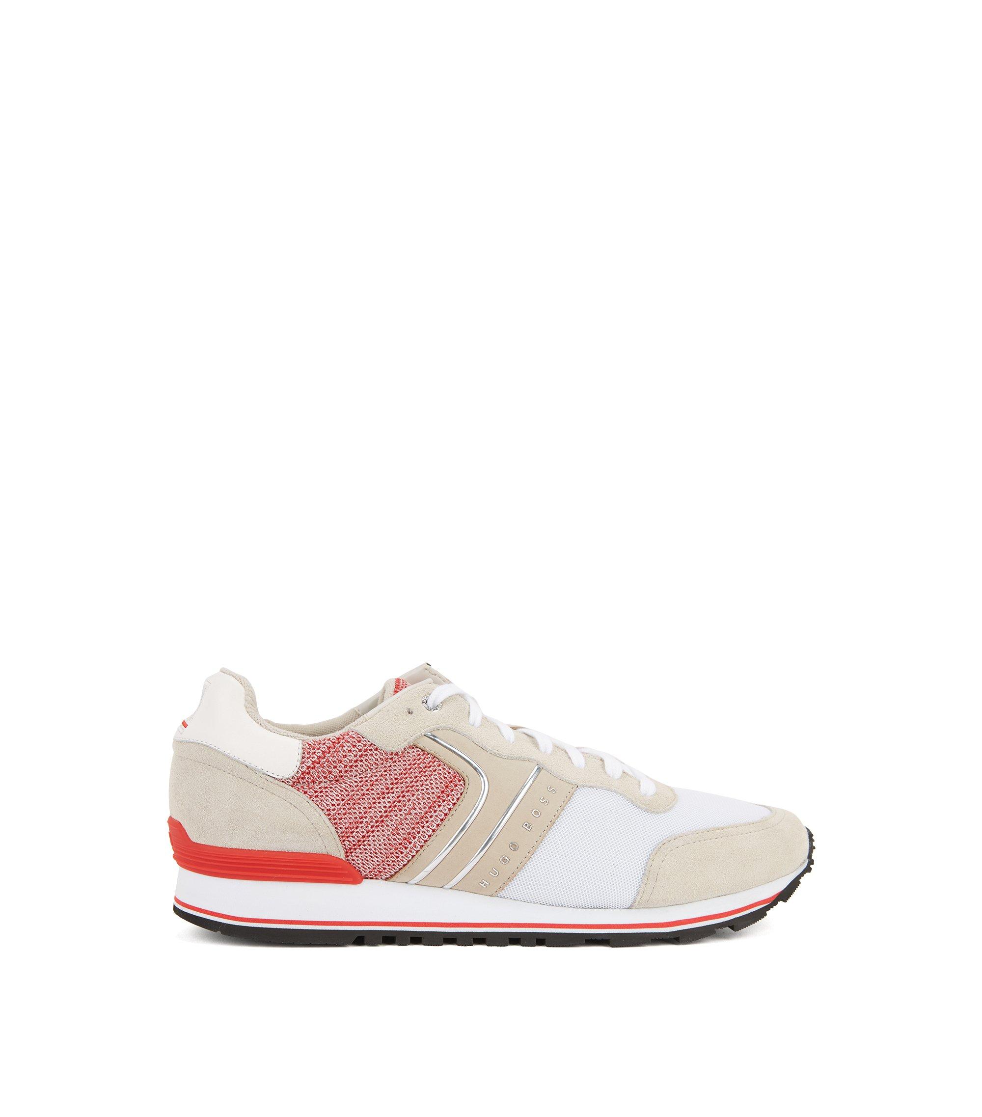 Lichte sneakers van suède, gebreid materiaal en mesh met vlagkleuren, Wit