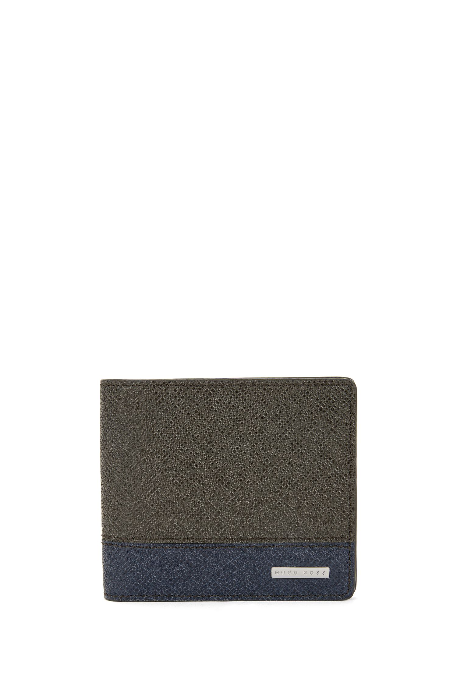 Portefeuille de la collection Signature en cuir palmellato color block, à deux volets