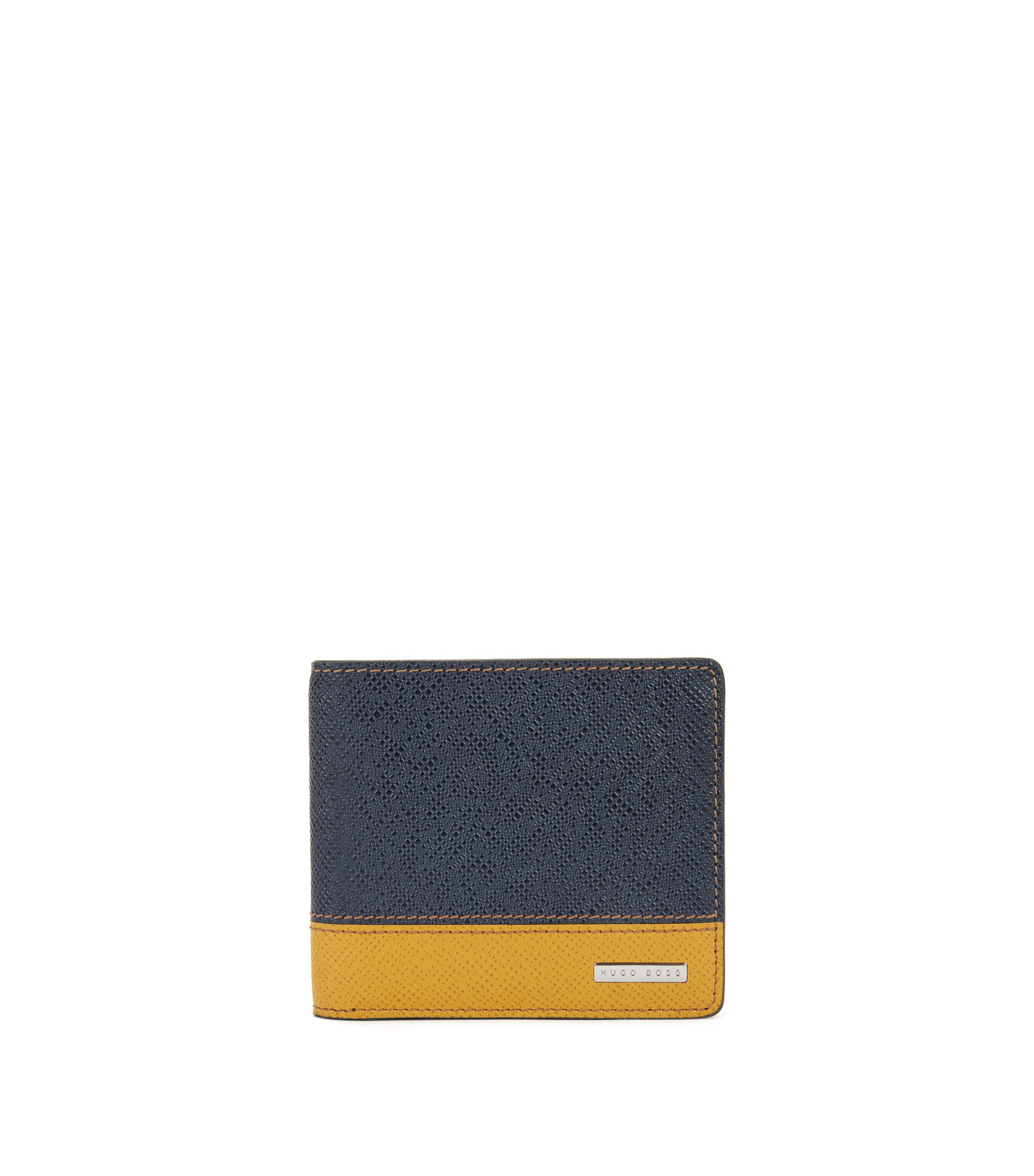 Signature Collection colour-block folding wallet in palmellato leather, Dark Blue