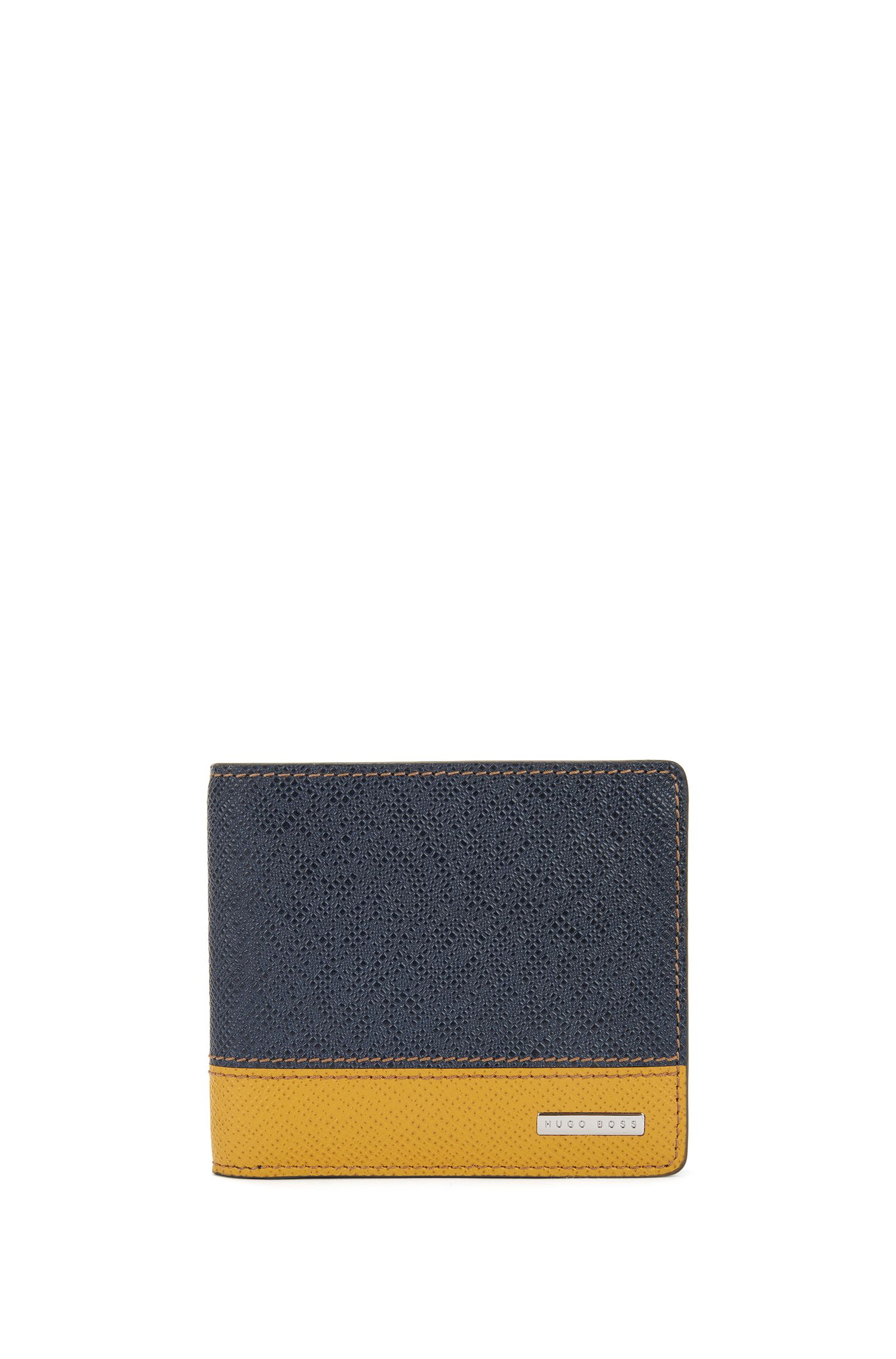 Signature Collection colour-block folding wallet in palmellato leather