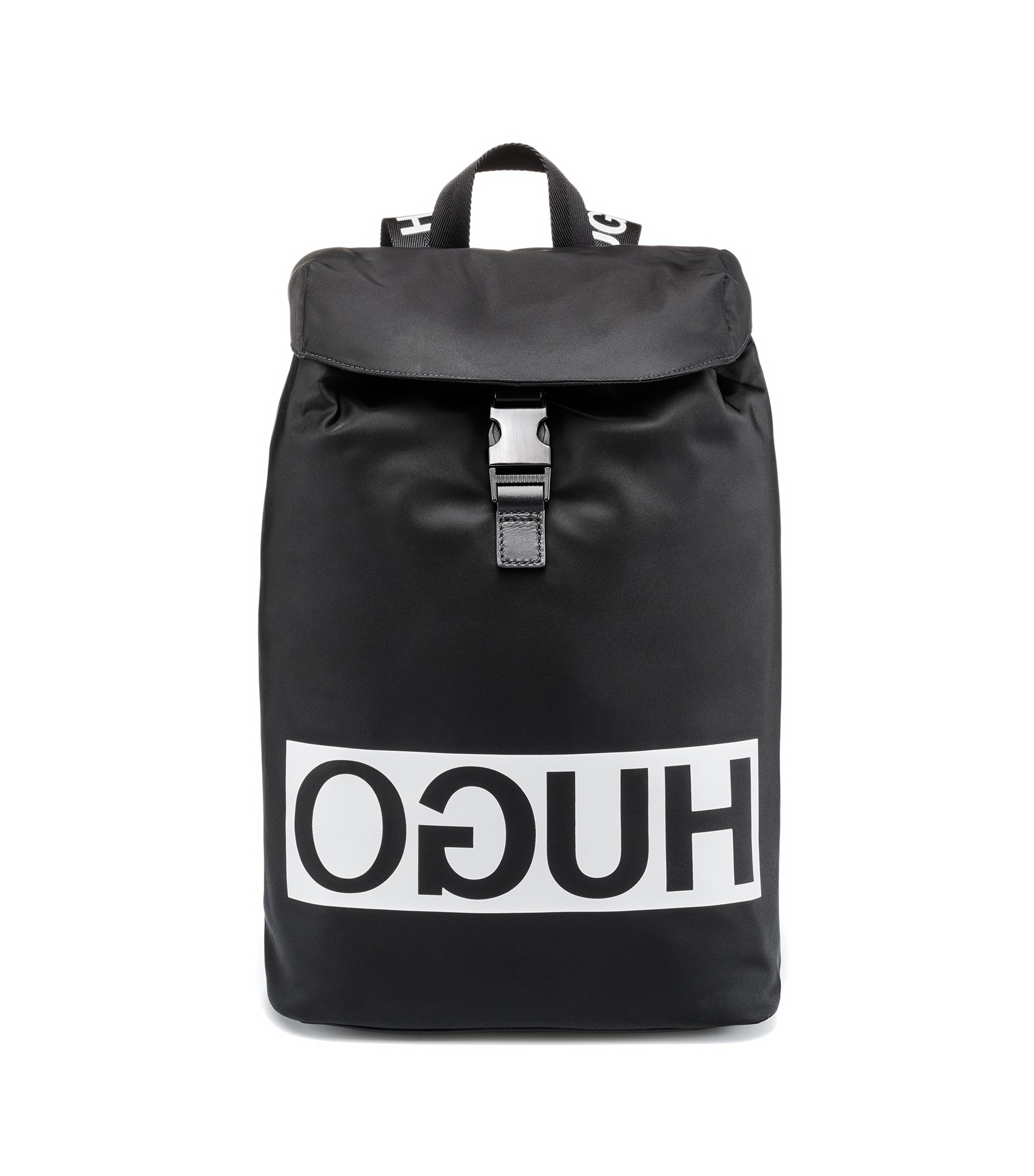 Reverse-logo backpack in nylon gabardine with leather trims, Black