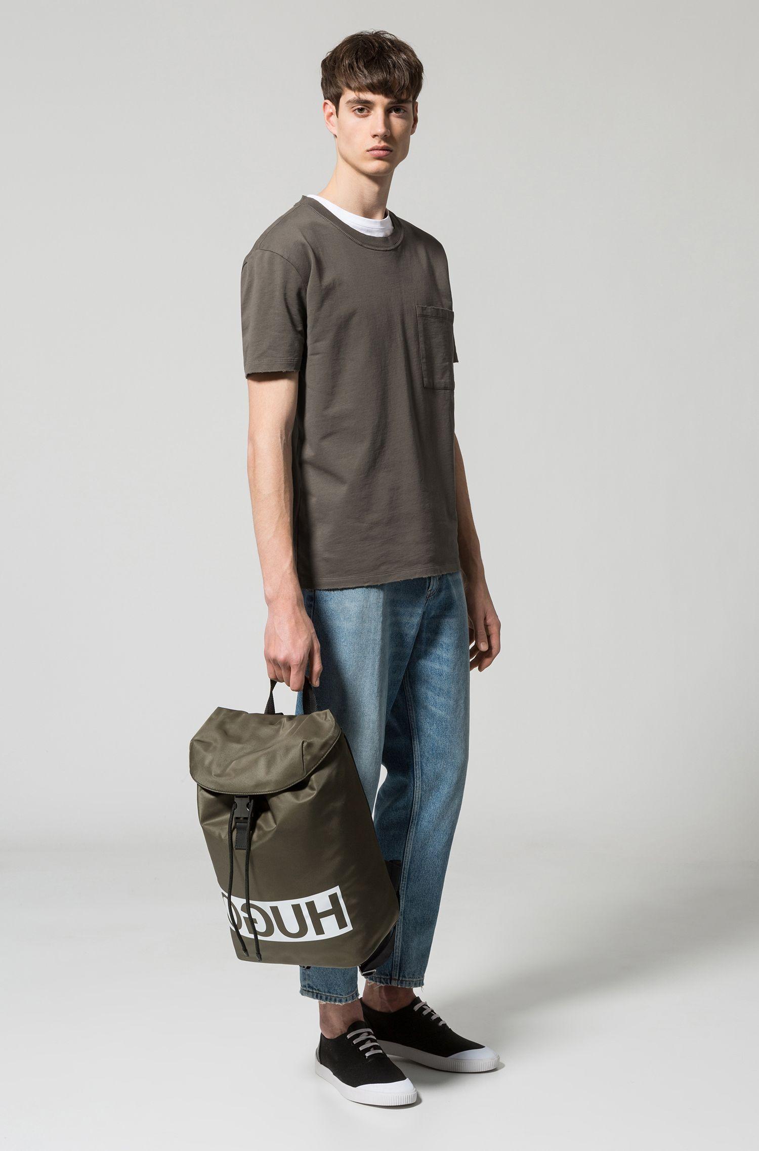 Reverse-logo backpack in nylon gabardine with leather trims