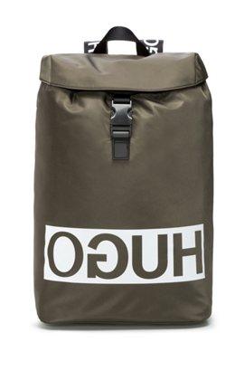 HUGO BOSS Sac à dos à logo inversé en tissu technique, avec finitions en cuir