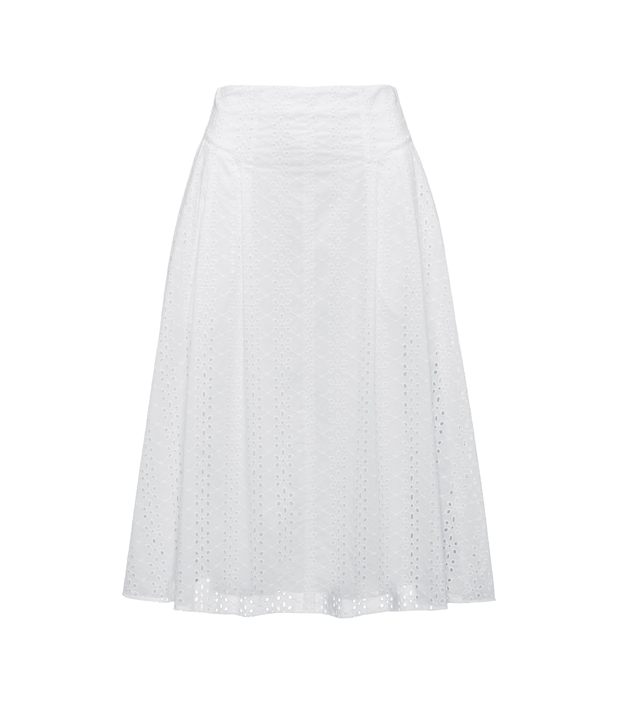 A-line cotton skirt with broderie anglaise, White