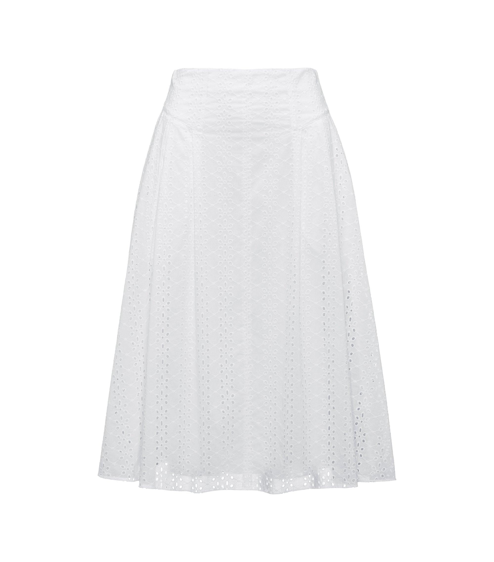 Falda evasé de algodón con bordado inglés, Blanco