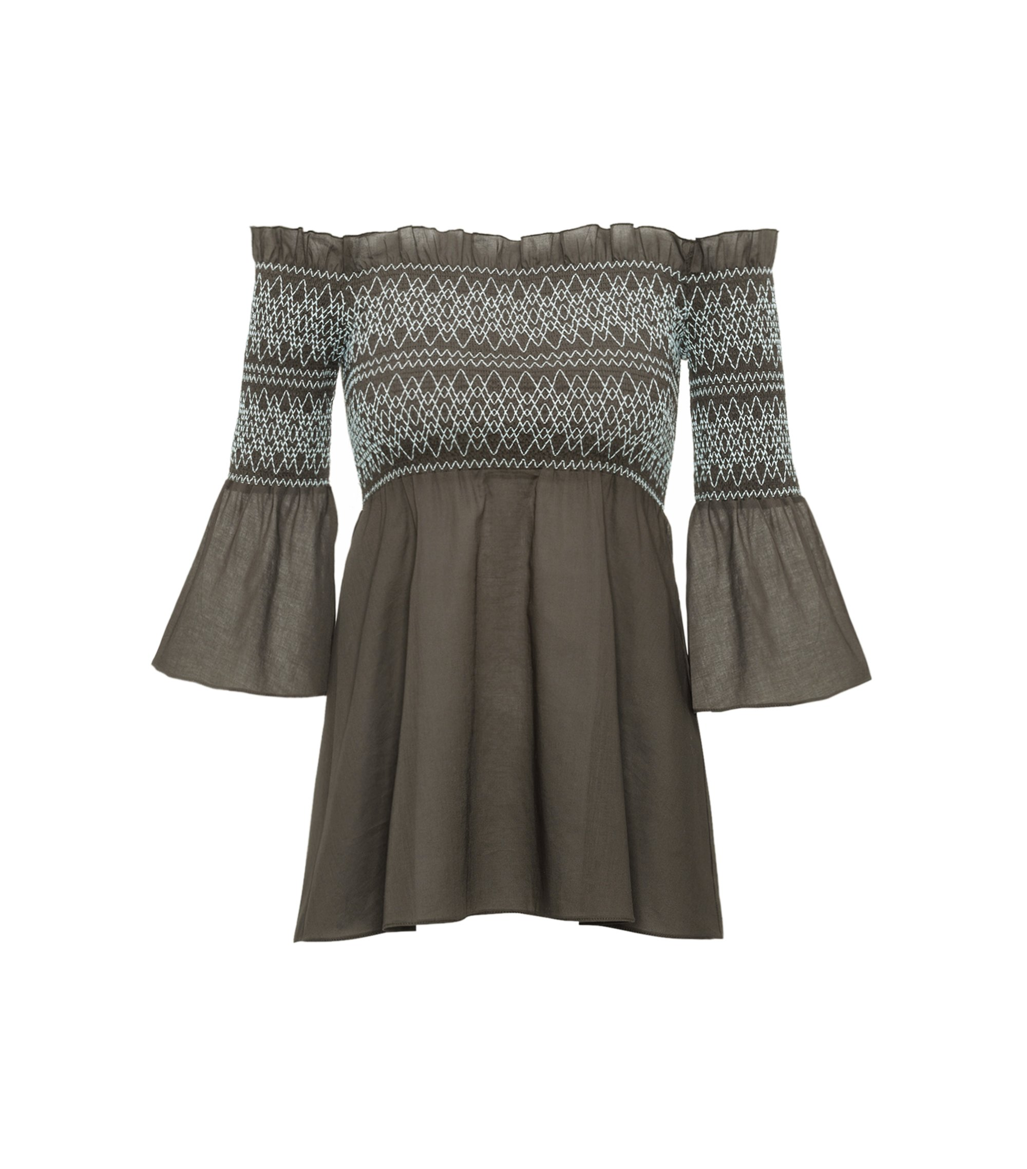 Off-the-shoulder cotton top with smocking, Dark Green