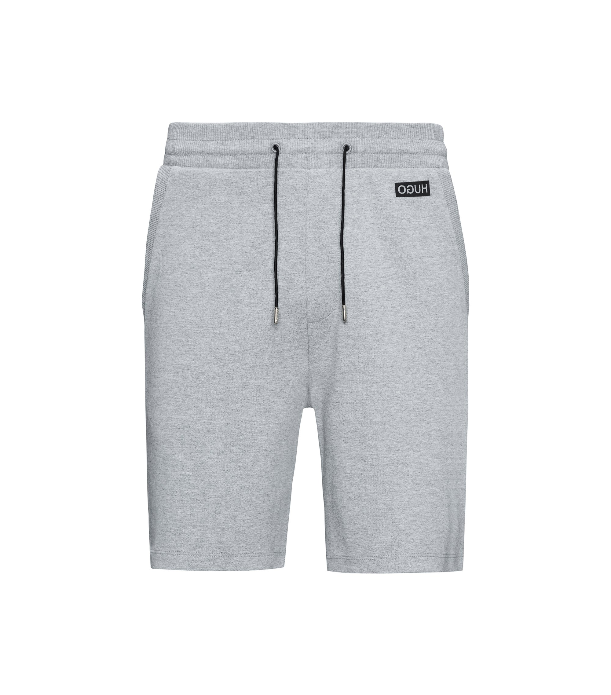 Drawstring shorts in interlock cotton, Grey