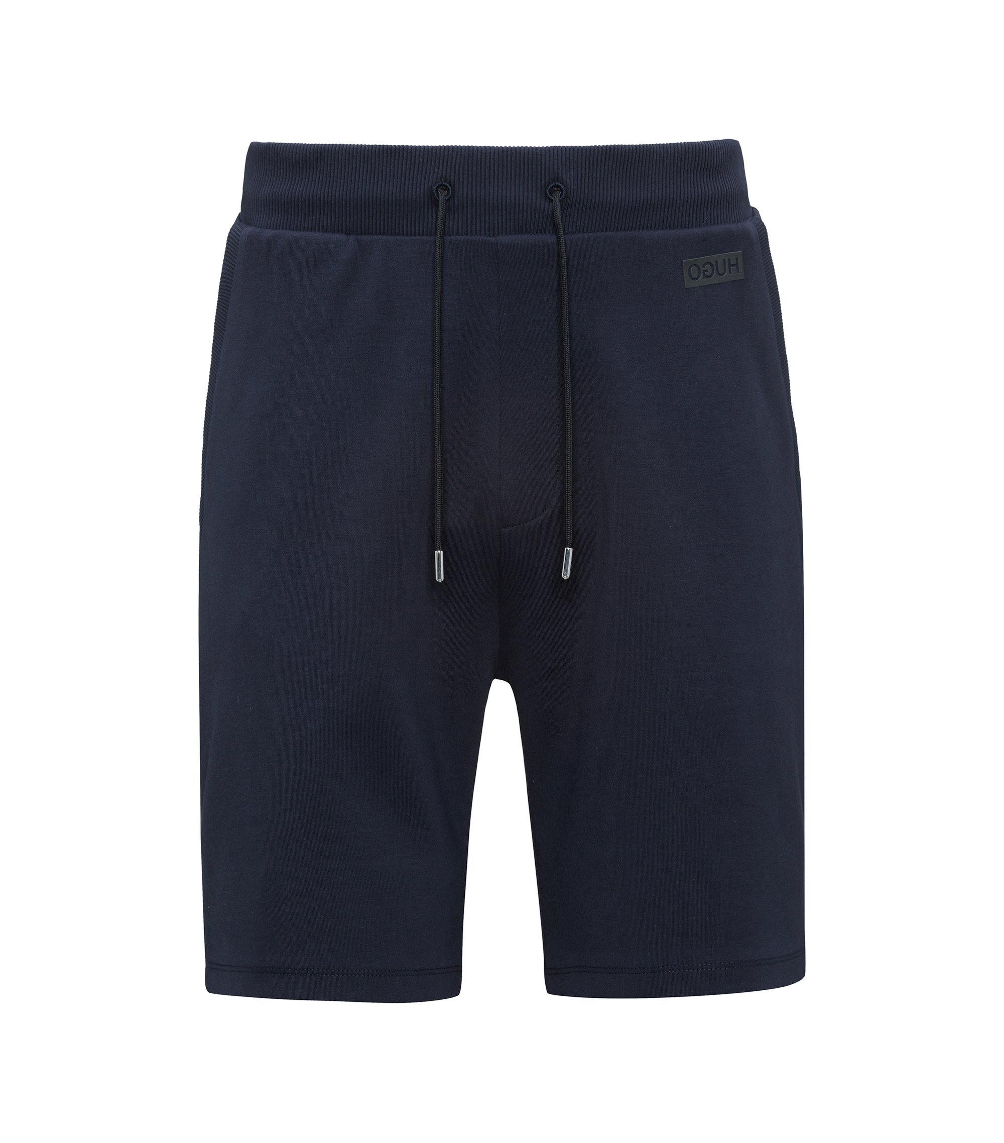 Drawstring shorts in interlock cotton, Dark Blue