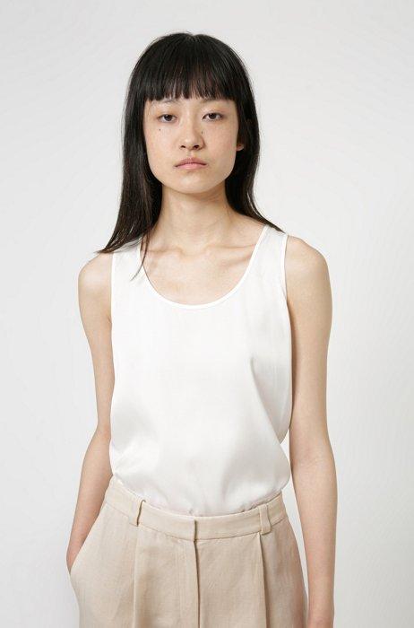 Sleeveless top in stretch silk, White