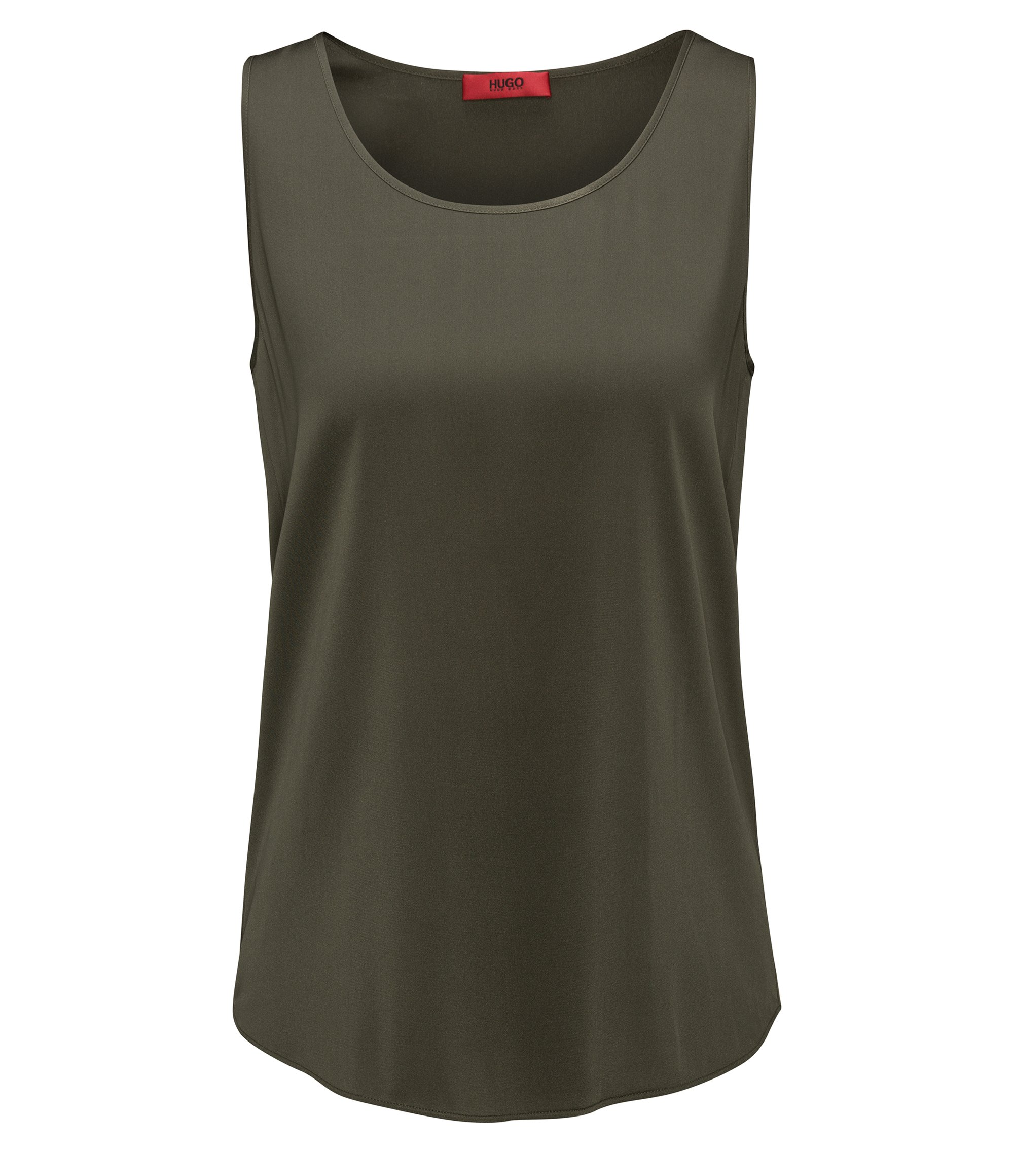 Sleeveless top in stretch silk, Dark Green