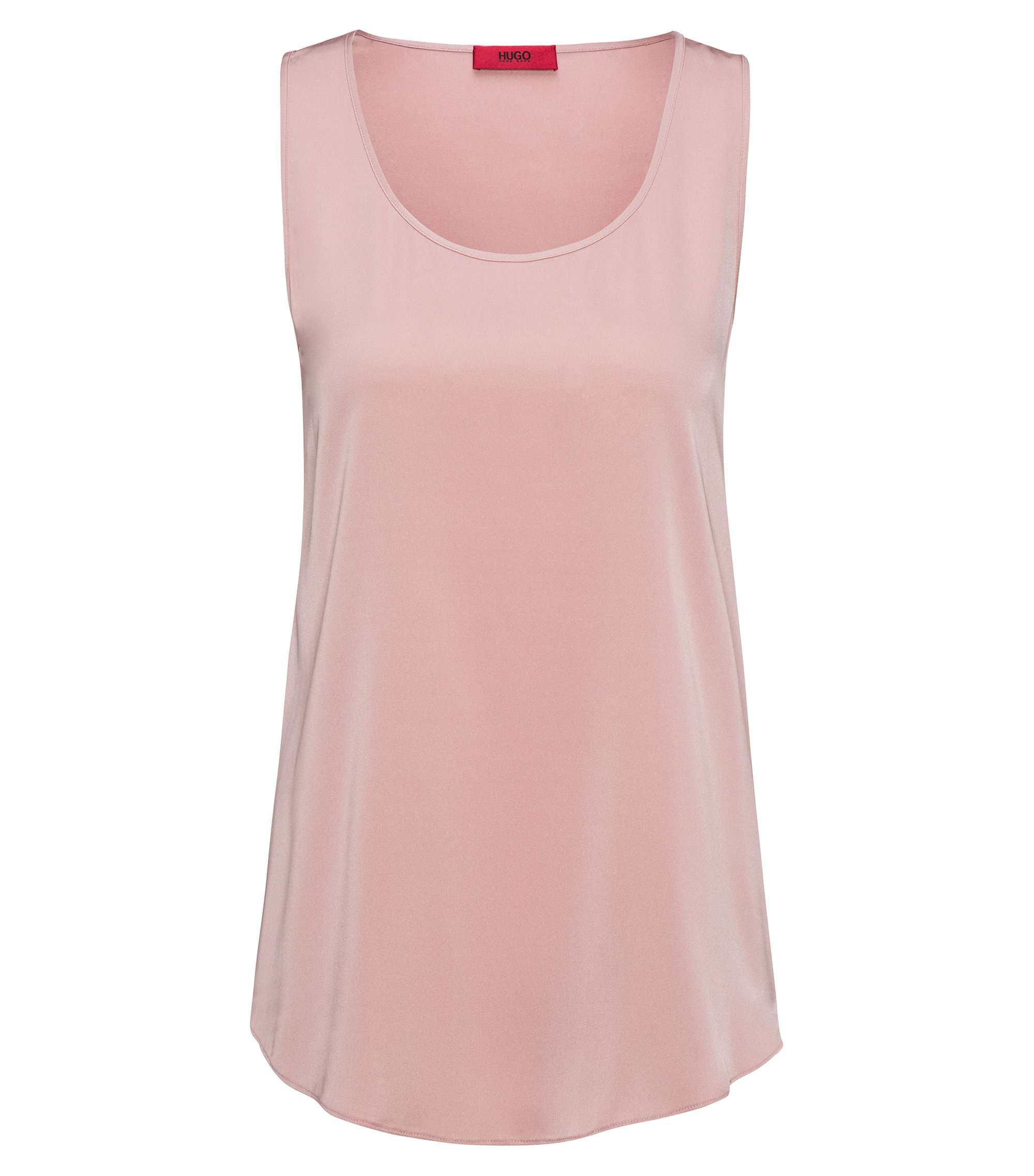 Sleeveless top in stretch silk, light pink