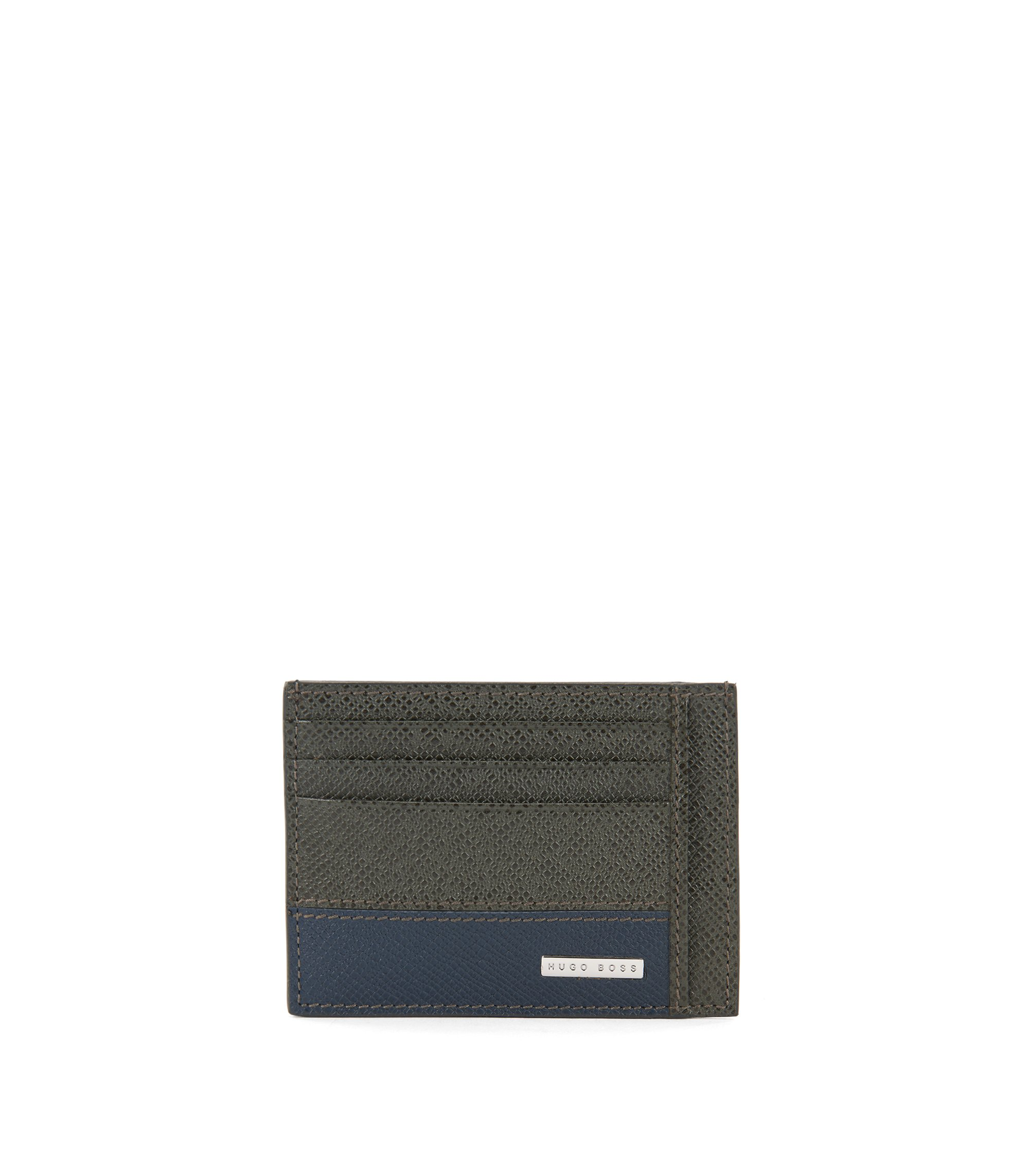 Porte-cartes de la collection Signature, en cuir palmellato color block, Vert sombre