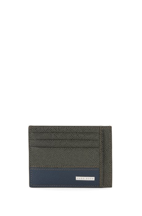 HUGO BOSS Porte-cartes de la collection Signature, en cuir palmellato color block