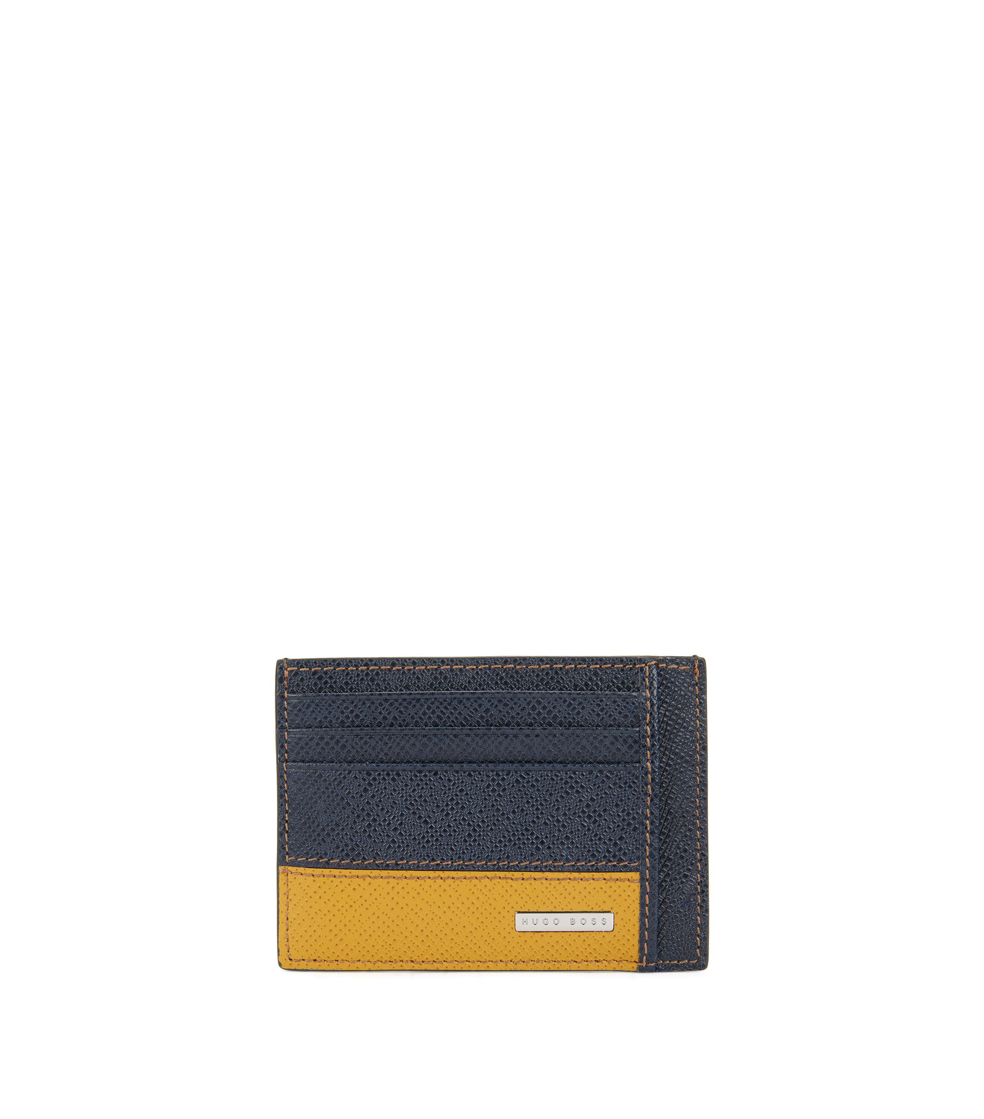 Signature Collection card holder in colour-block palmellato leather, Dark Blue