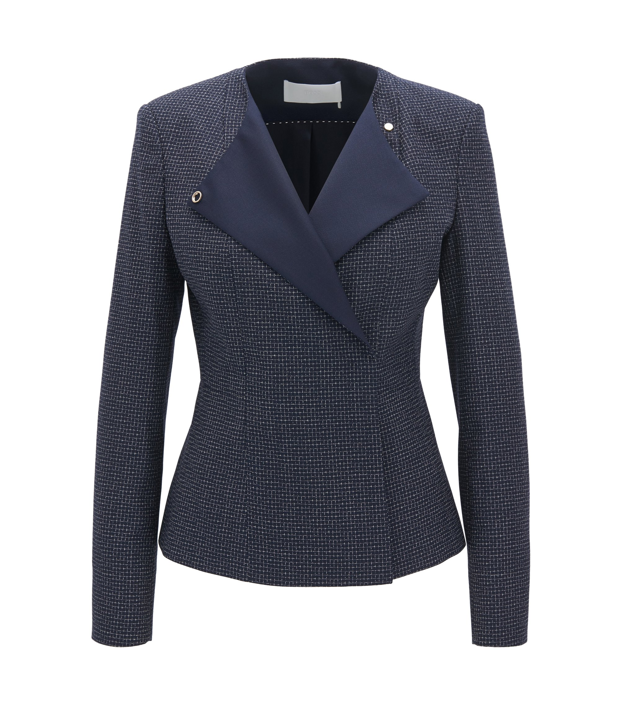 Regular-fit collarless jacket in checked virgin wool, Patterned
