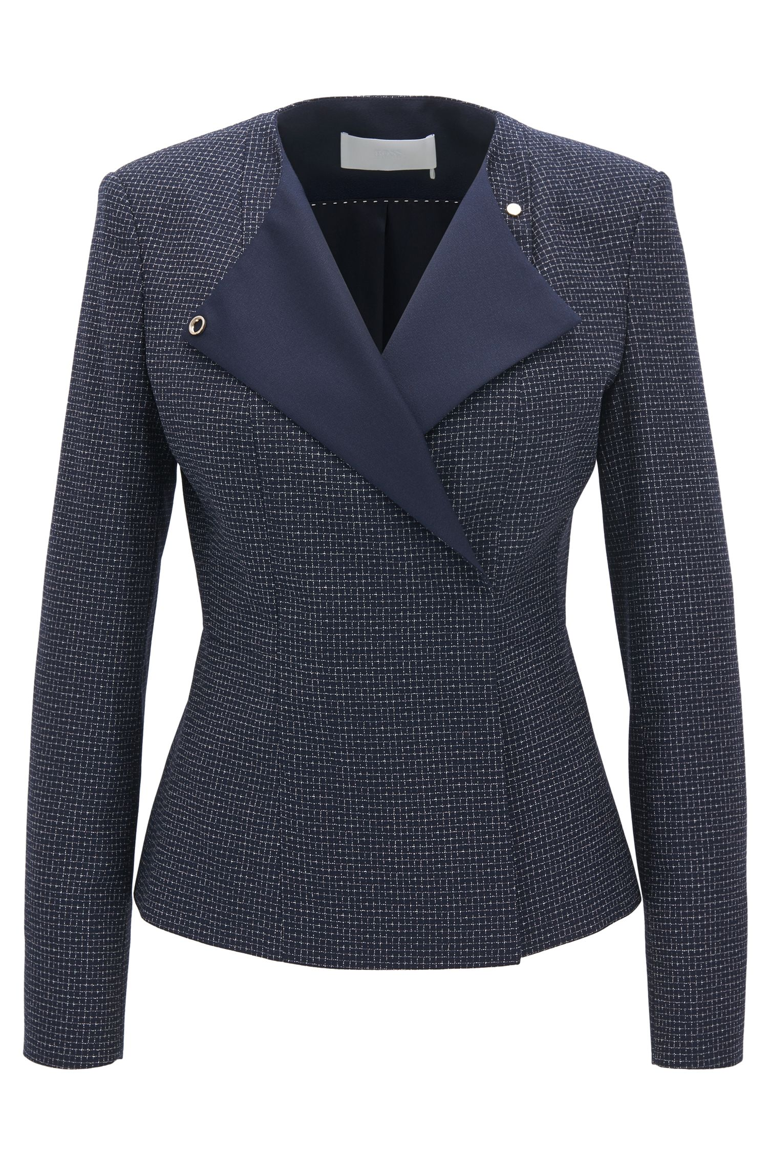 Regular-fit collarless jacket in checked virgin wool