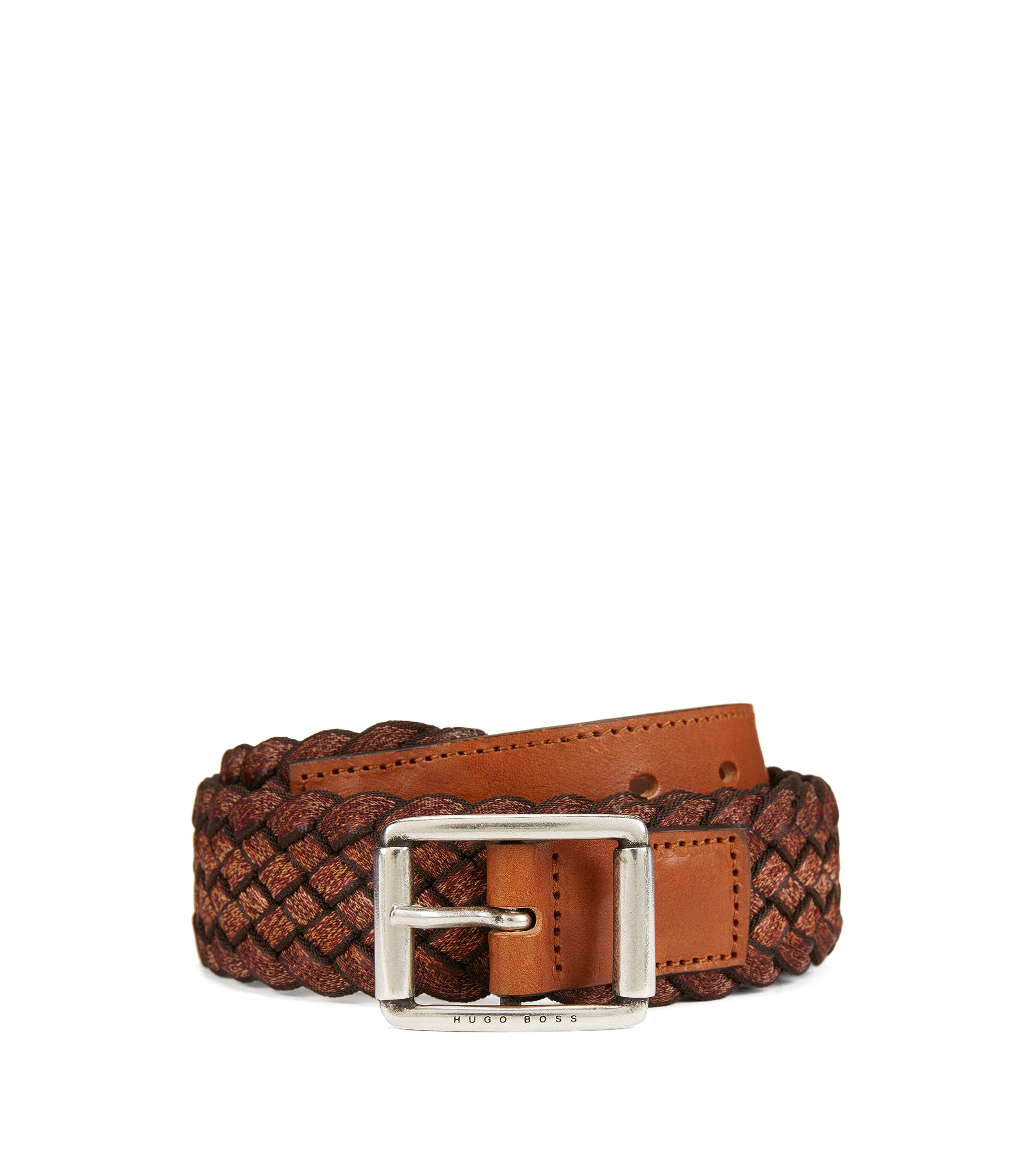 Woven multi-tonal textile belt with leather trim , Brown