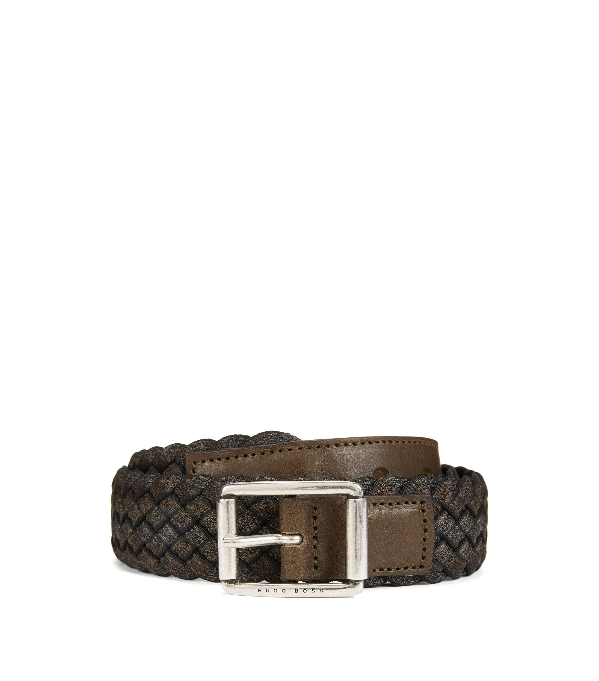 Woven multi-tonal textile belt with leather trim , Dark Green