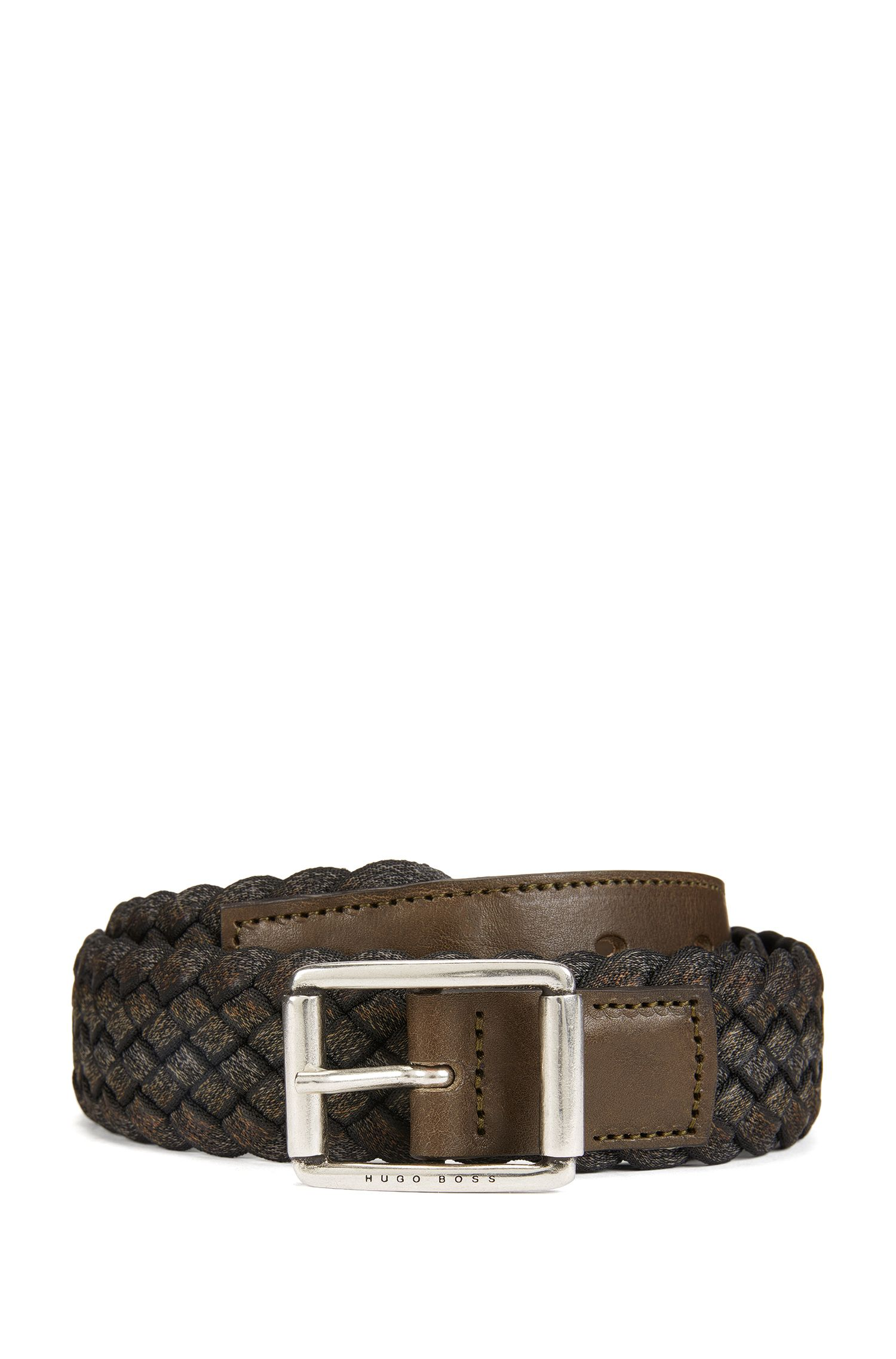 Woven multi-tonal textile belt with leather trim
