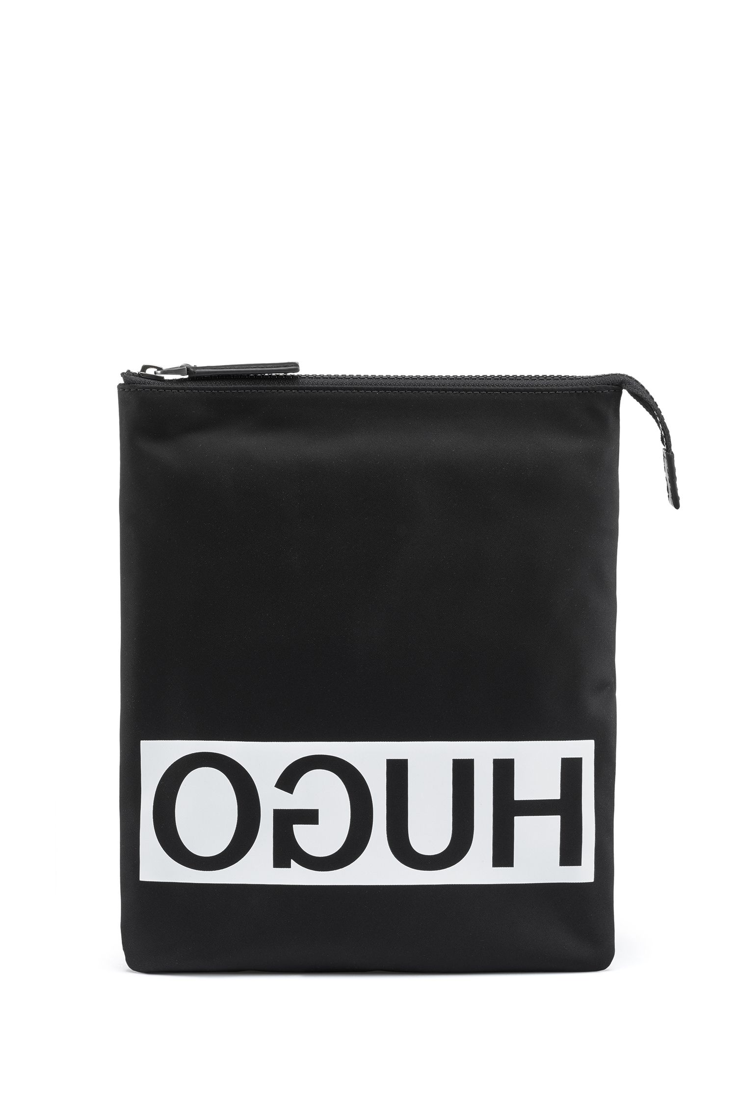 Reverse-logo envelope bag in nylon gabardine