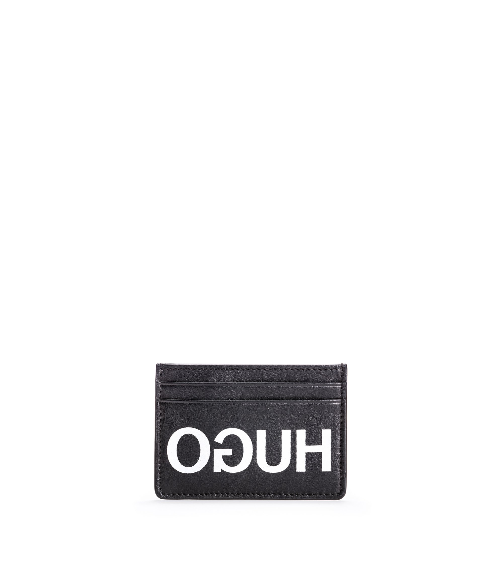 Reverse-logo card holder in leather, Black