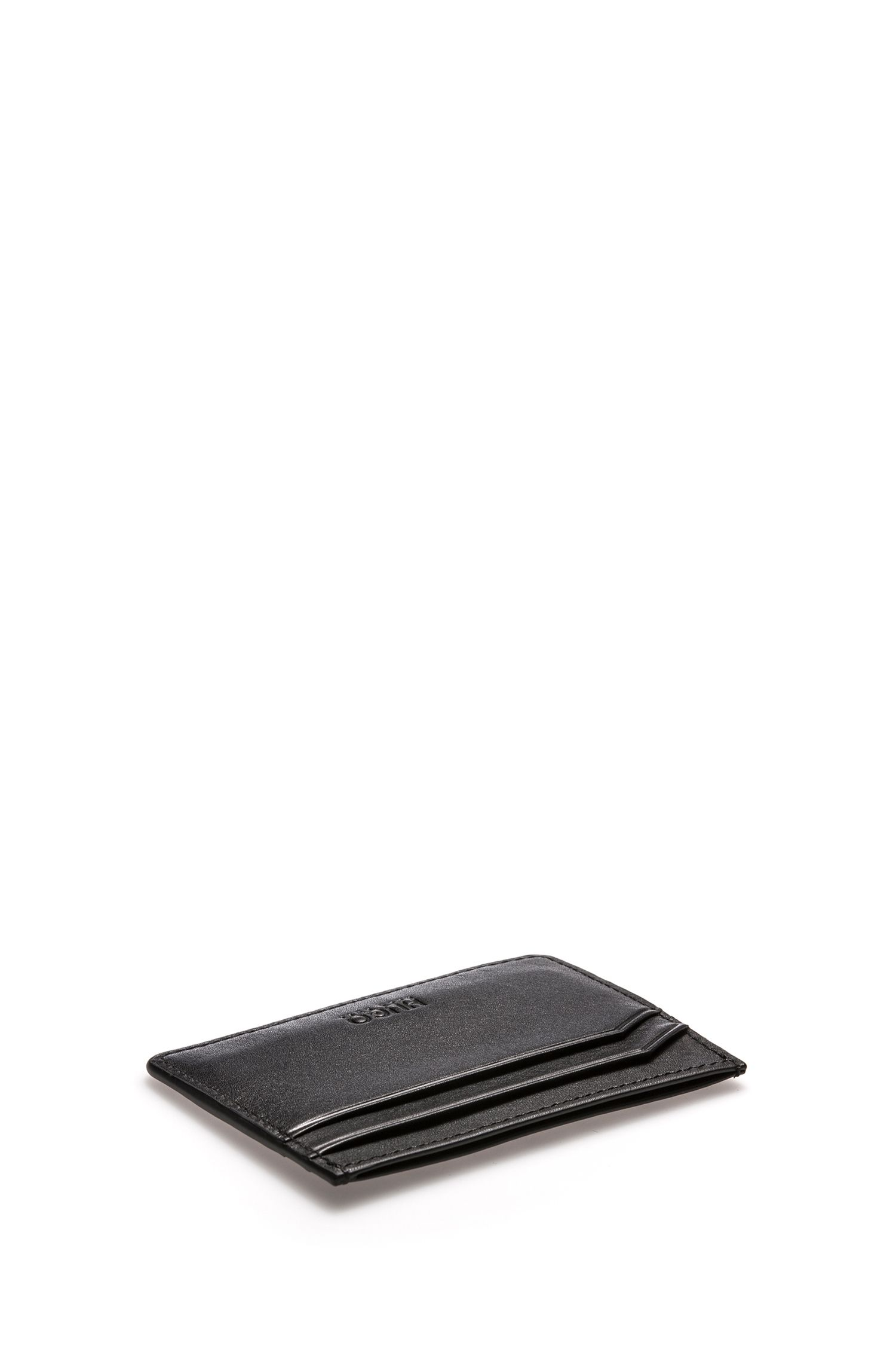 Reverse-logo card holder in leather