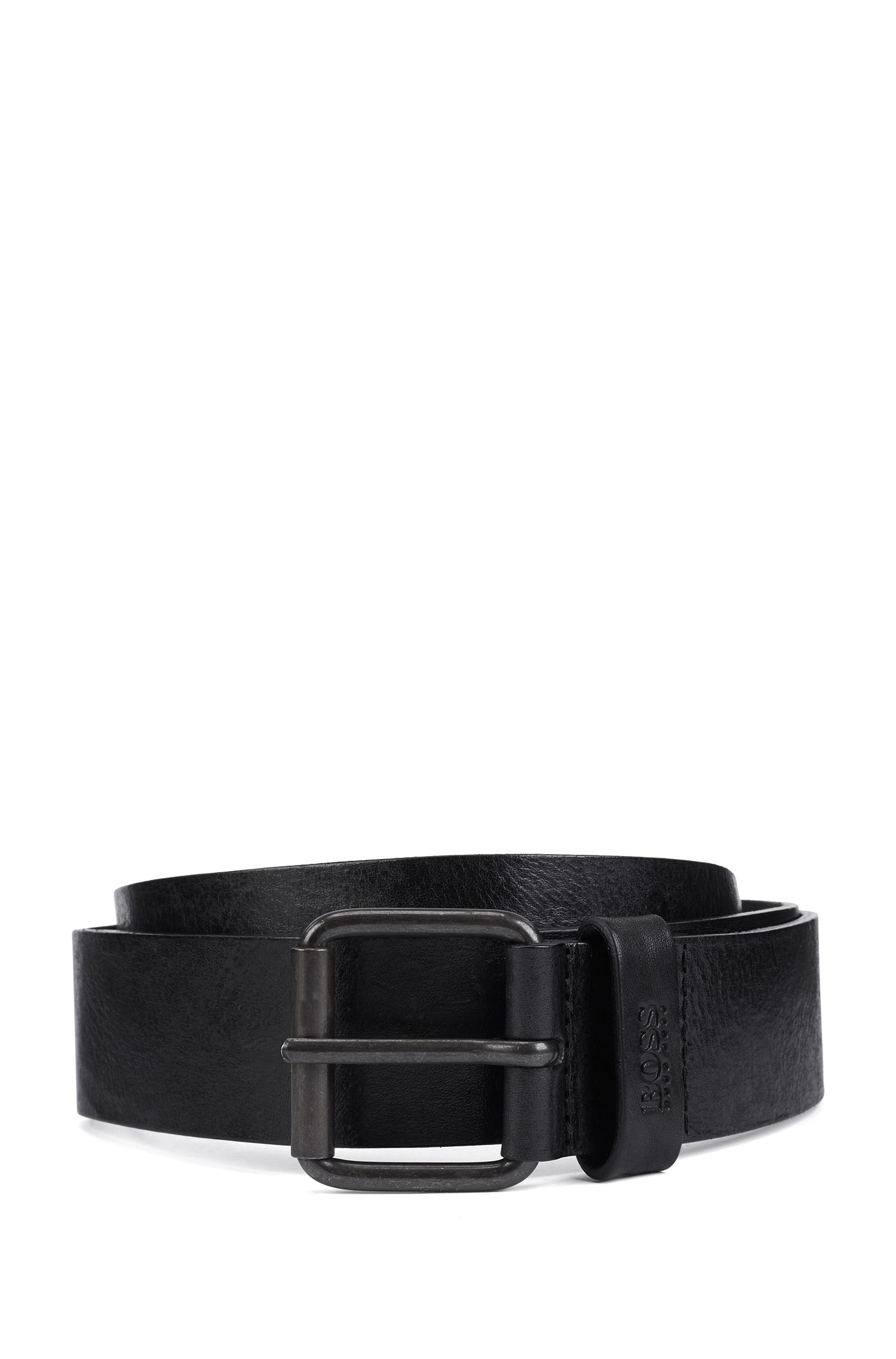 Roller-buckle belt in tumbled leather, Black