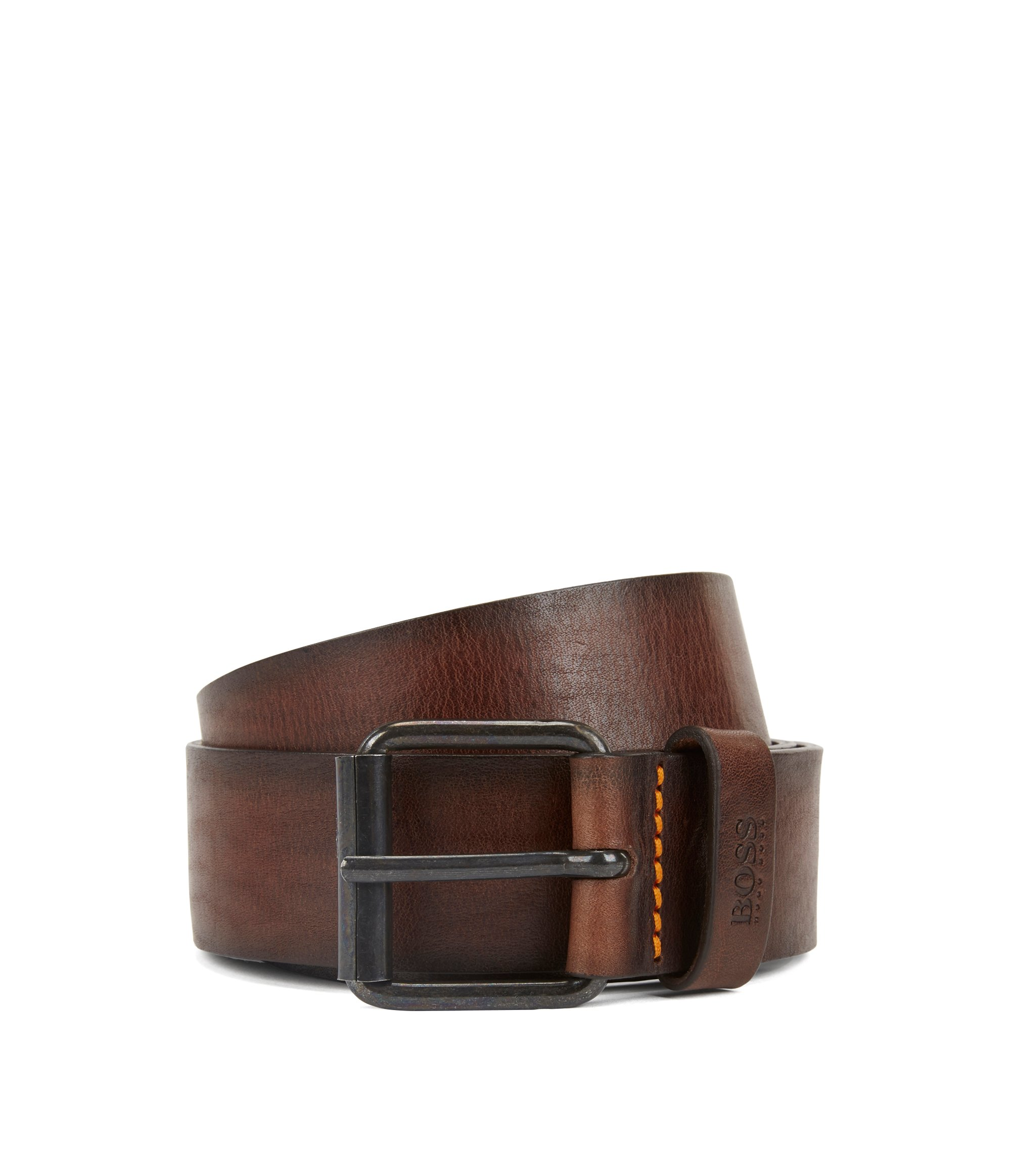 Roller-buckle belt in tumbled leather, Dark Brown
