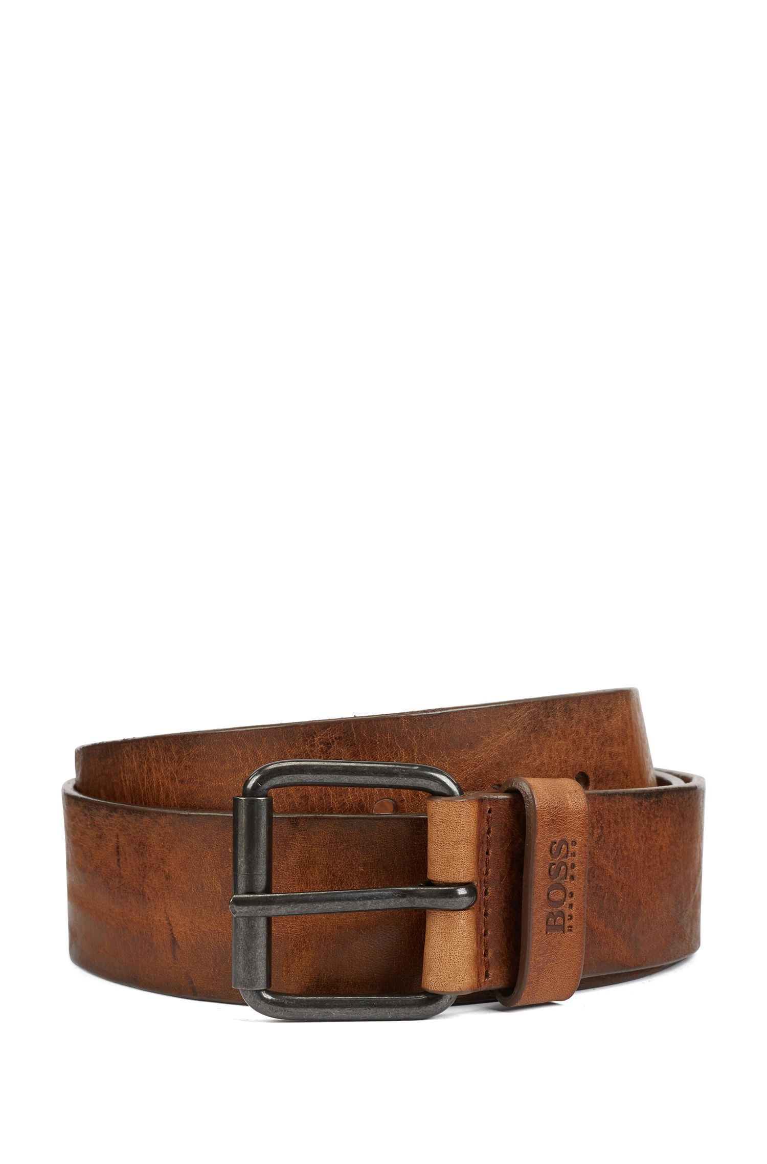 Roller-buckle belt in tumbled leather