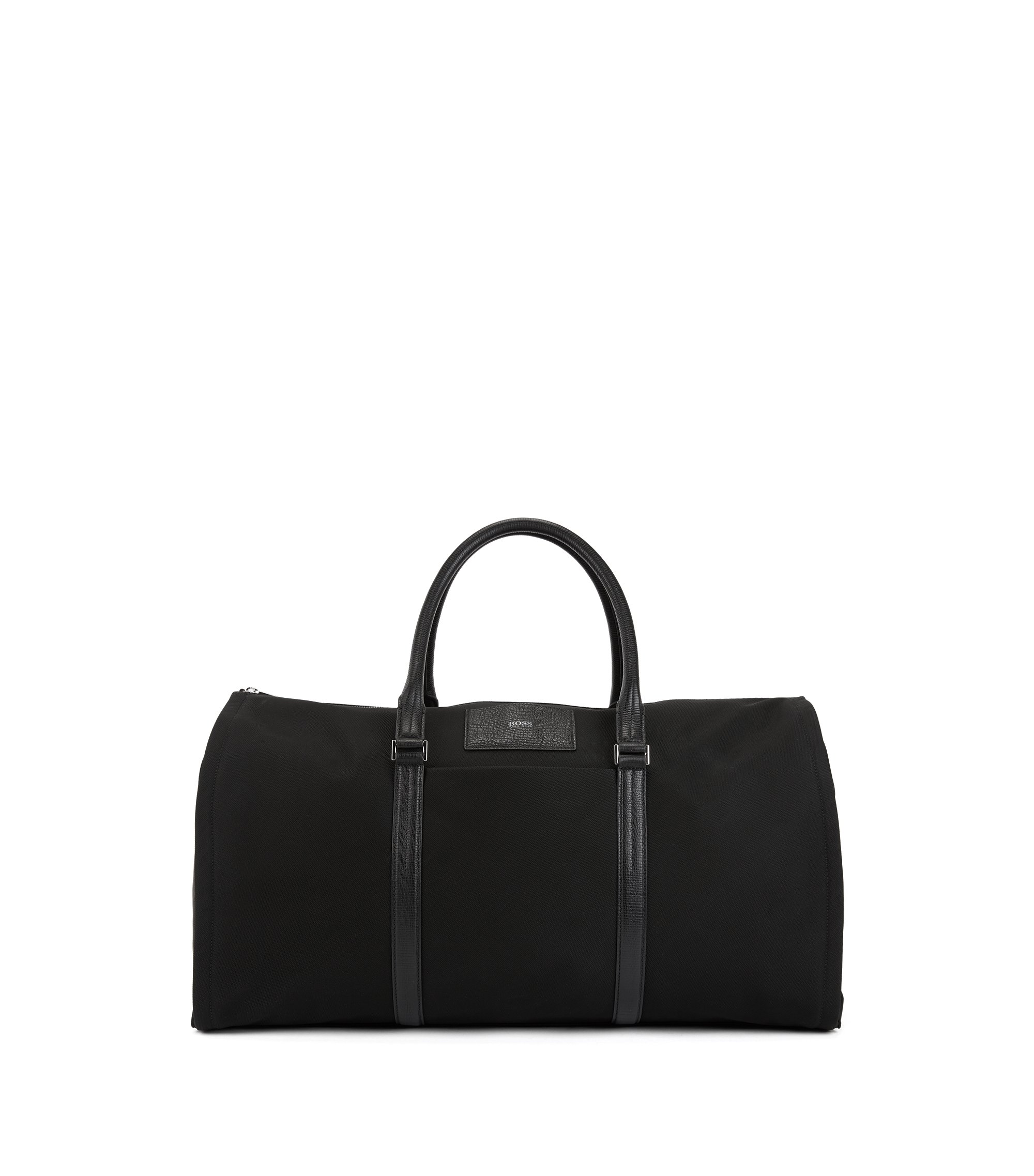 Nylon garment holdall with structured leather trims, Black