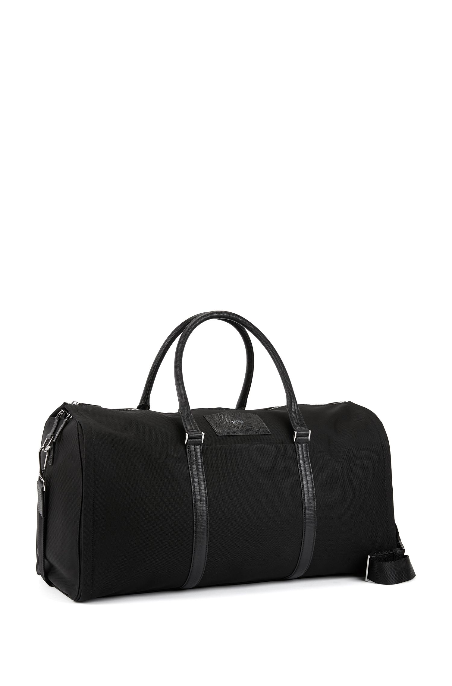 Nylon garment holdall with structured leather trims