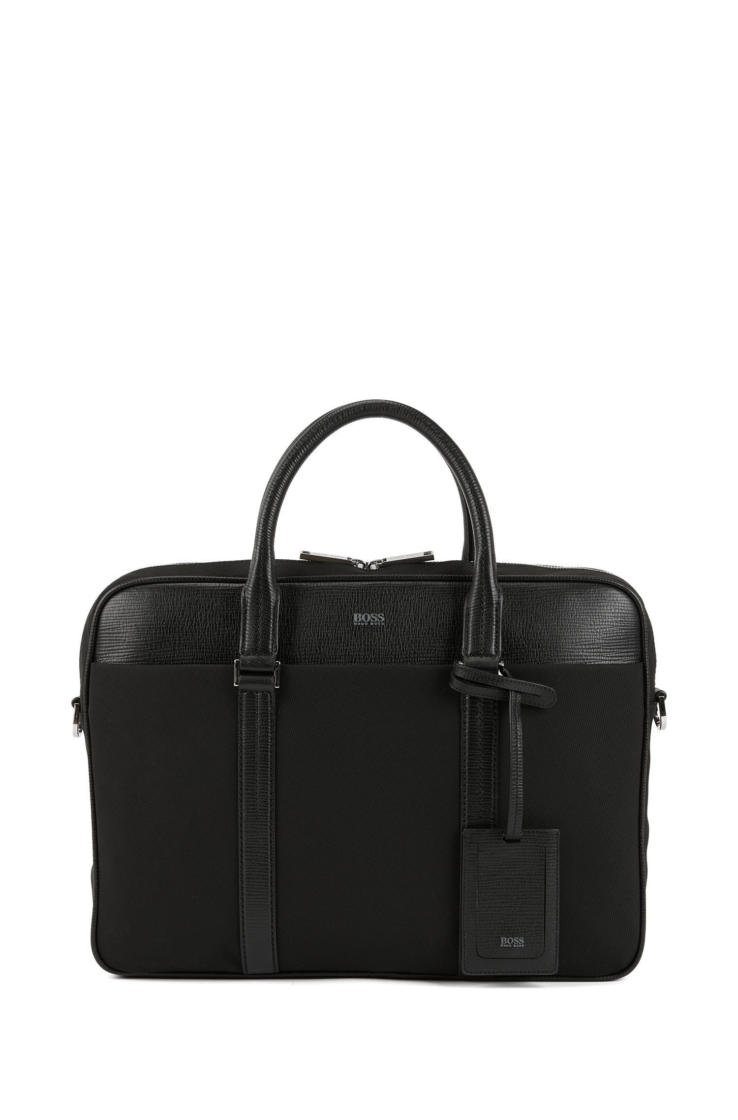 Document case in nylon and structured leather, Black