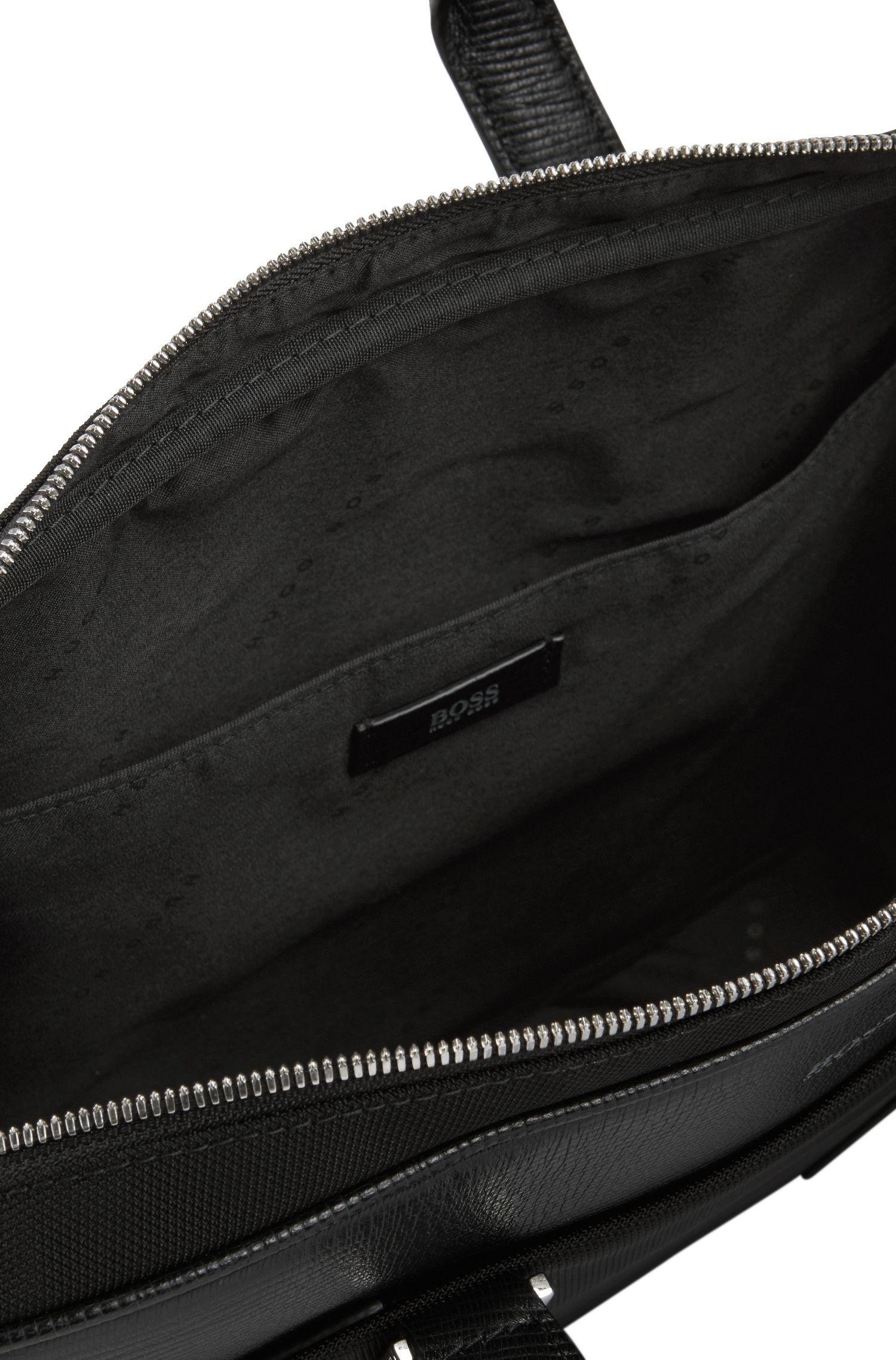 Aktentasche aus Nylon und strukturiertem Leder, Schwarz
