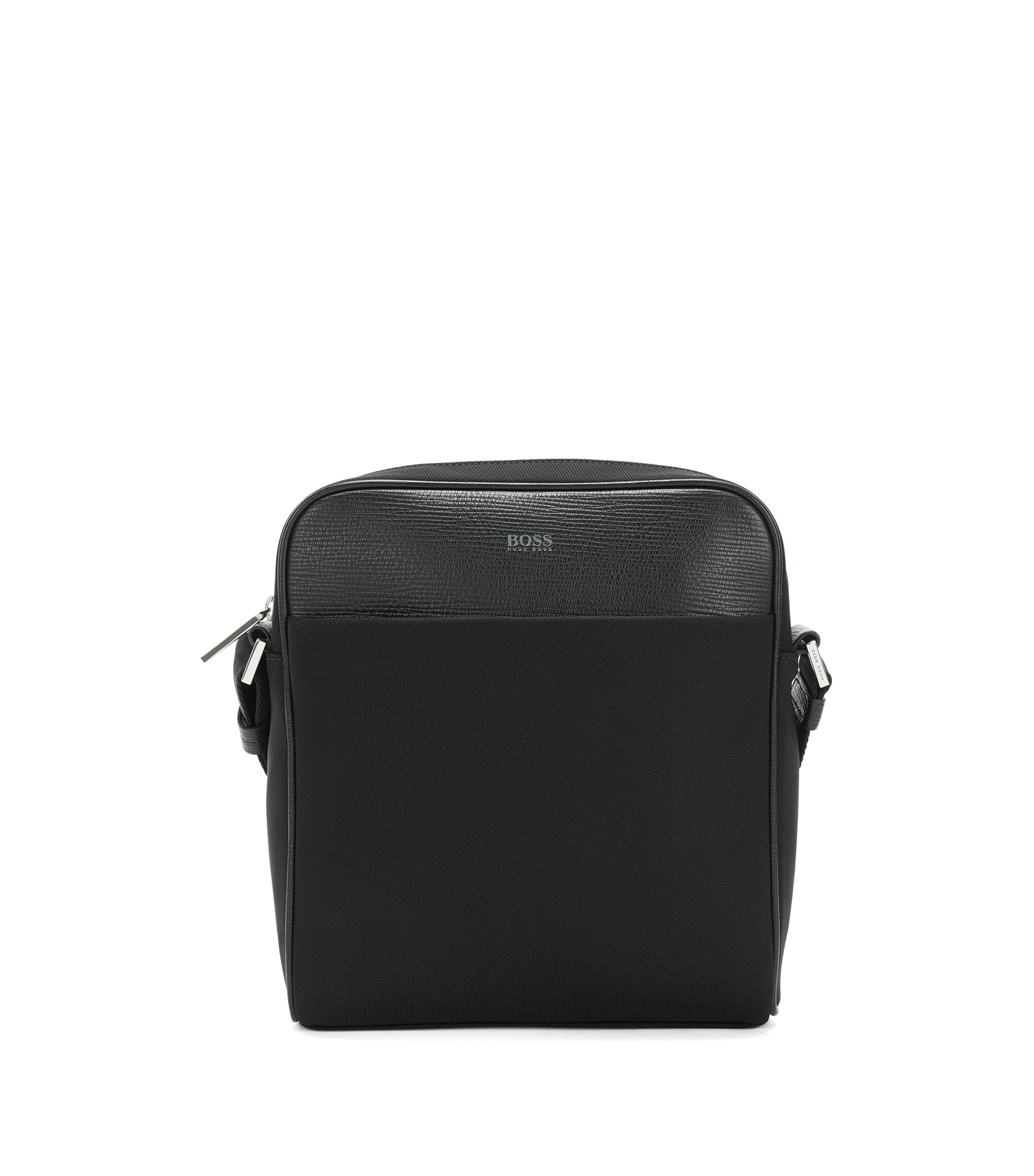 Reporter bag in nylon and structured leather , Black