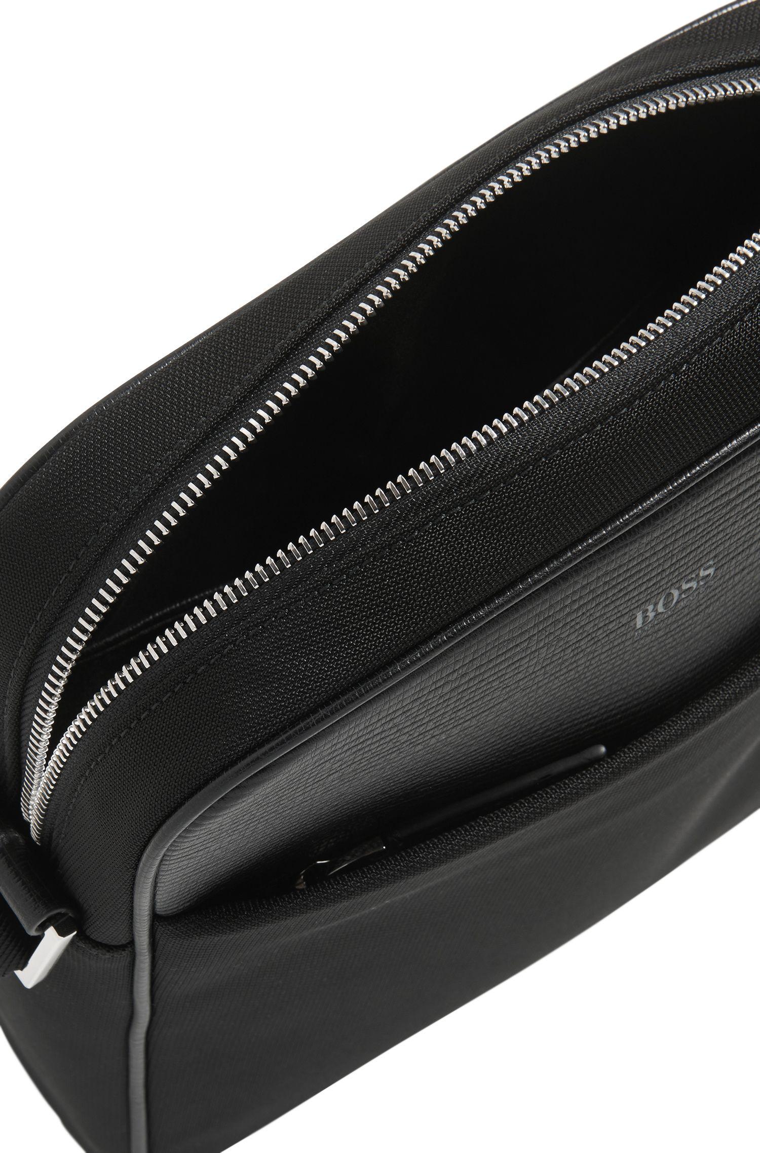 Reporter-Tasche aus Nylon und strukturiertem Leder