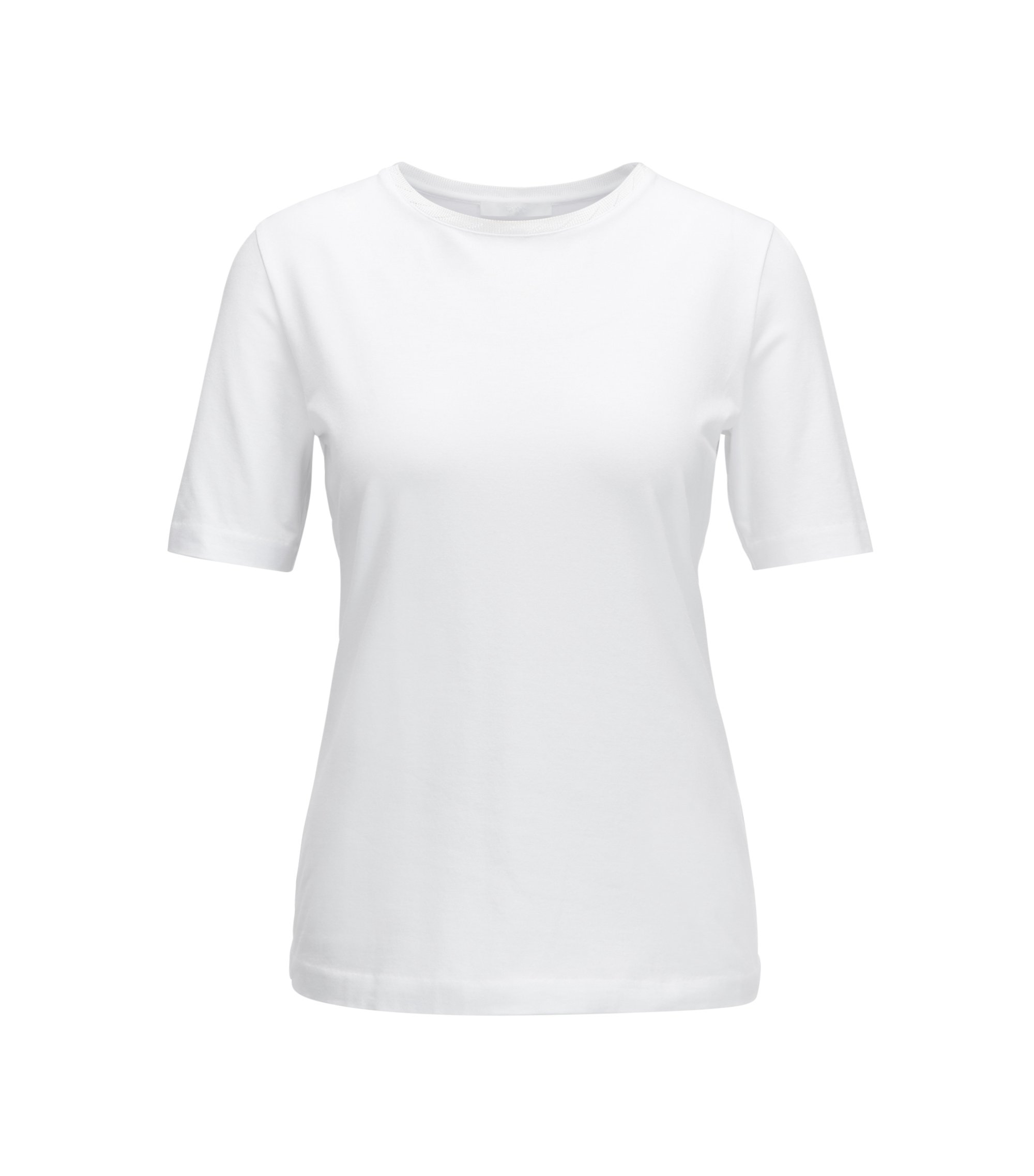 Top met ronde hals, van jersey met stretch, Naturel