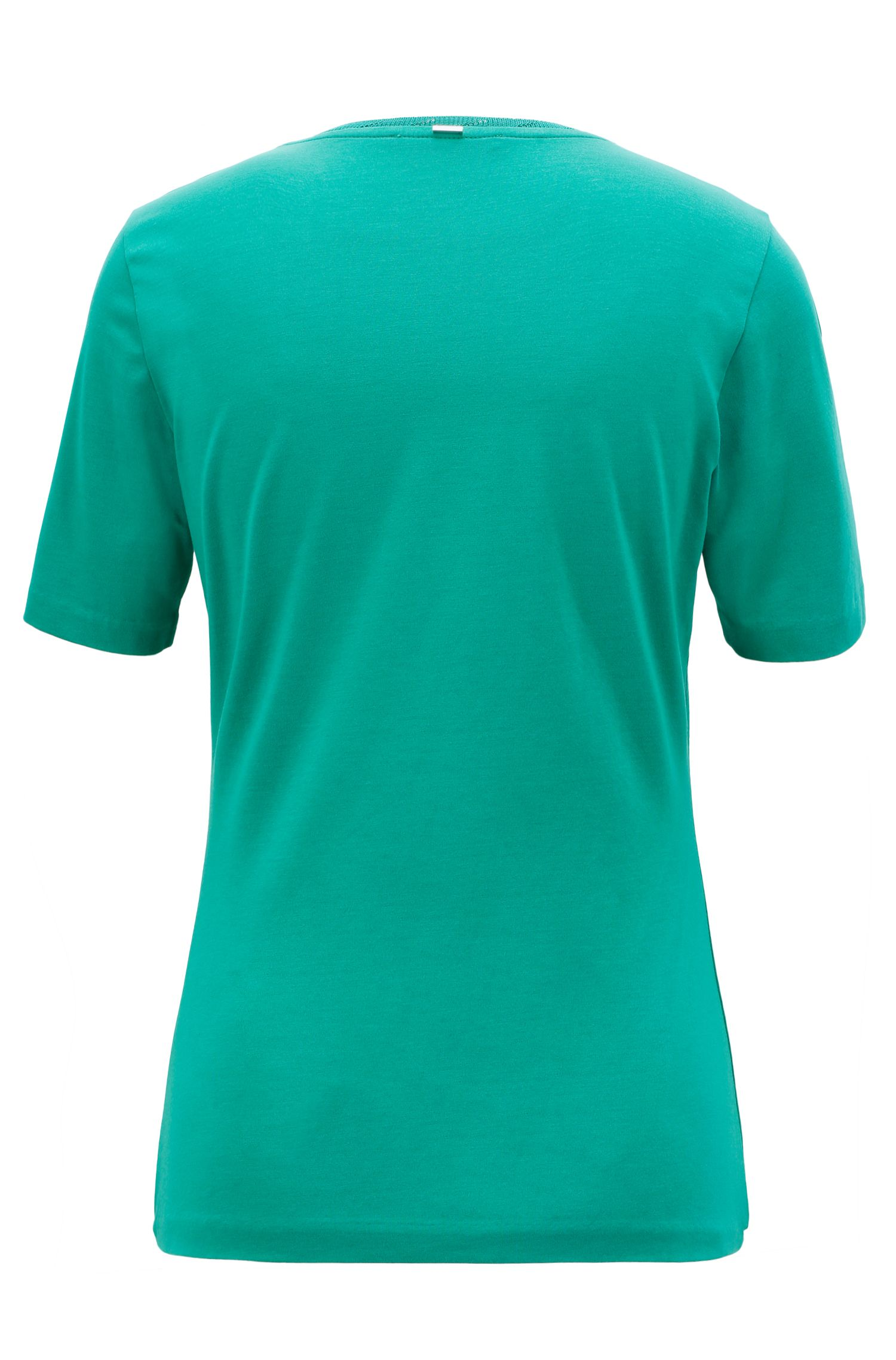Regular-fit crew-neck top in stretch jersey, Open Green
