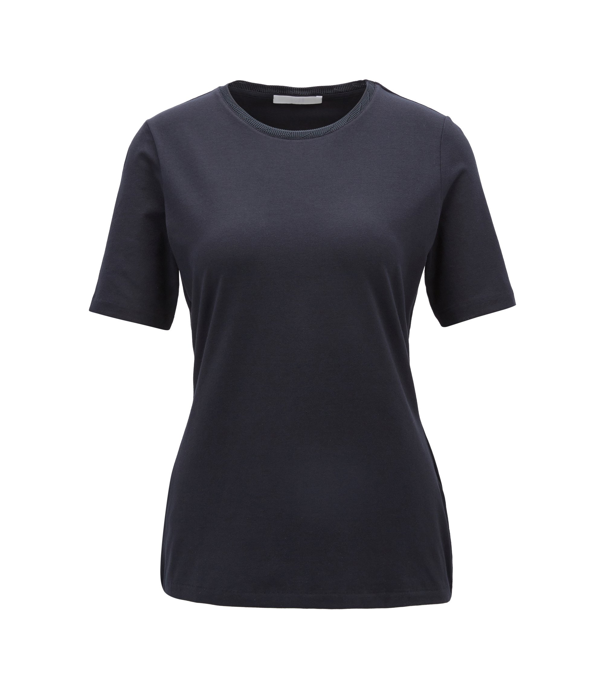 Regular-fit crew-neck top in stretch jersey, Dark Blue