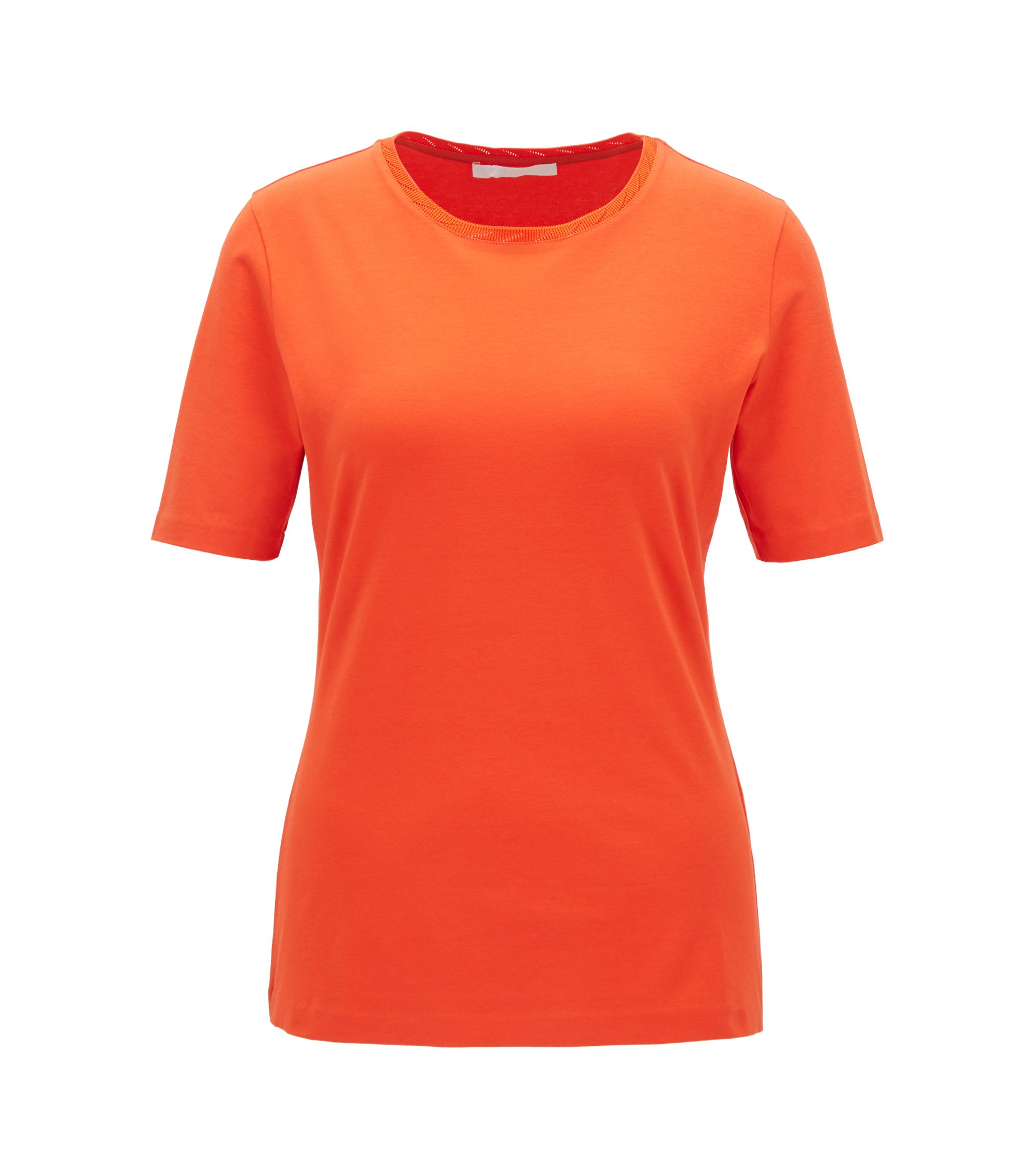 Regular-fit crew-neck top in stretch jersey, Red