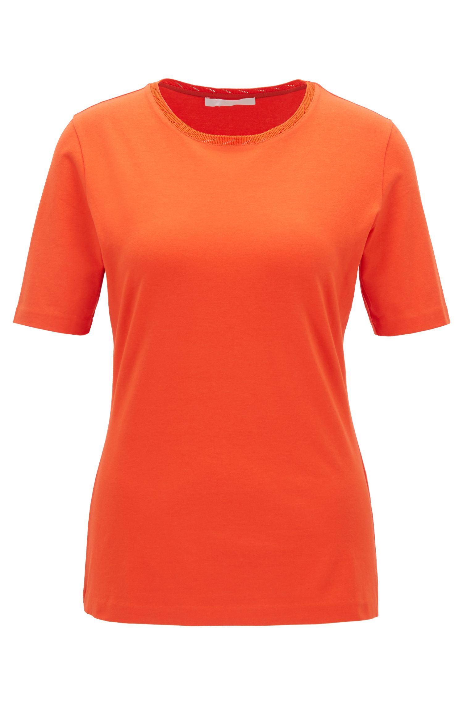 Regular-fit crew-neck top in stretch jersey