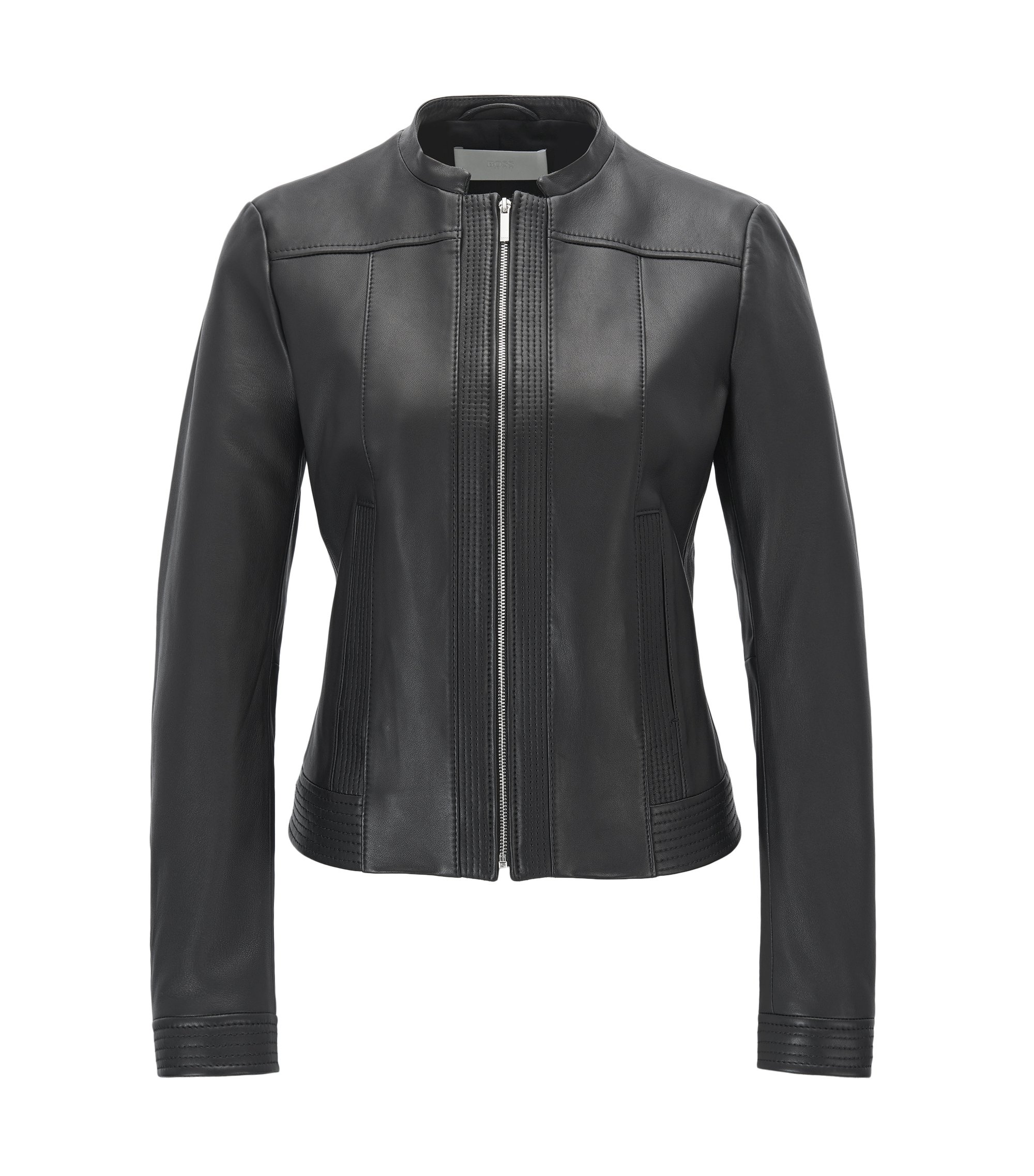 Regular-fit jacket in nappa lambskin, Black