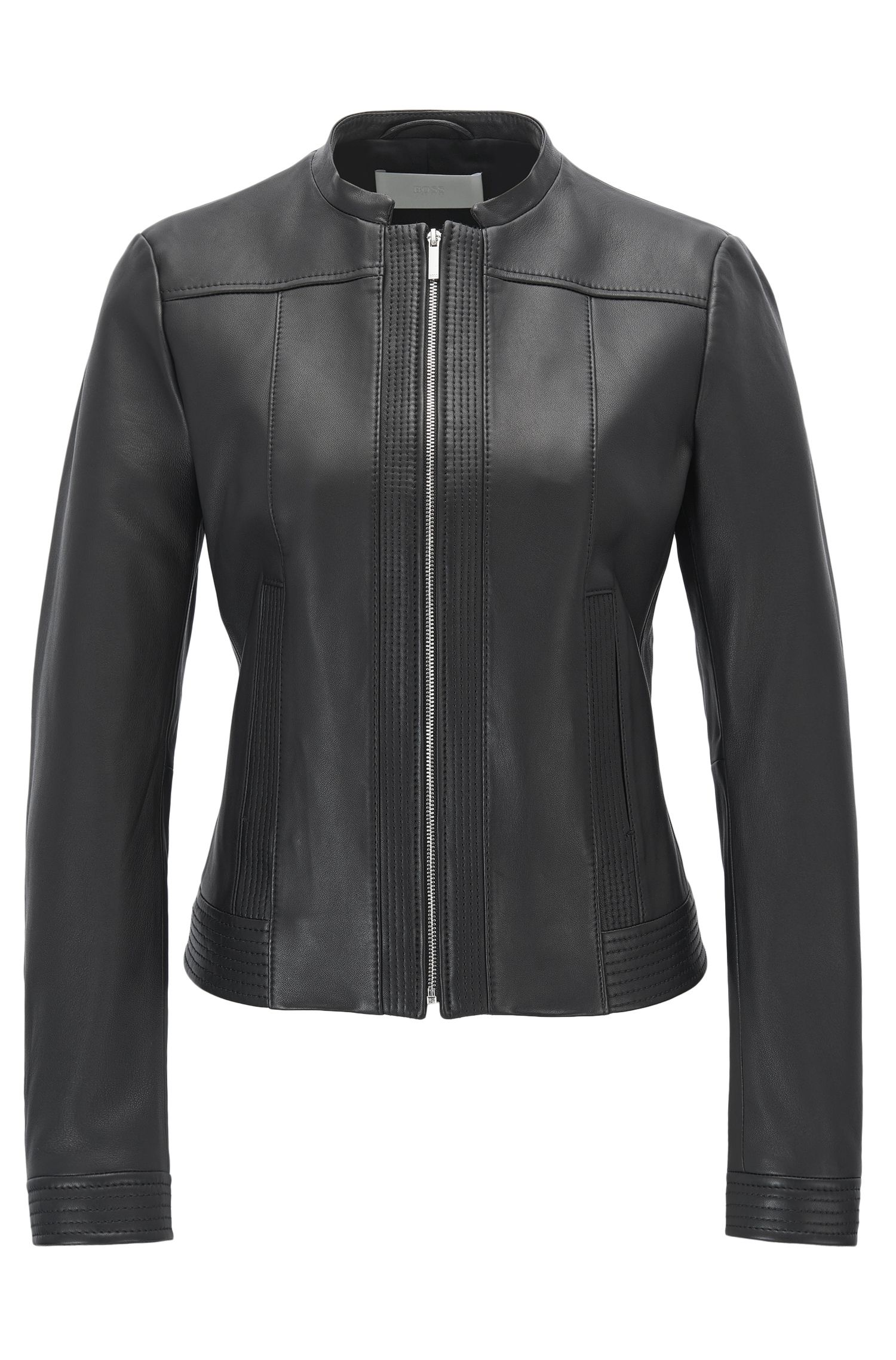 Veste Regular Fit en cuir d'agneau nappa