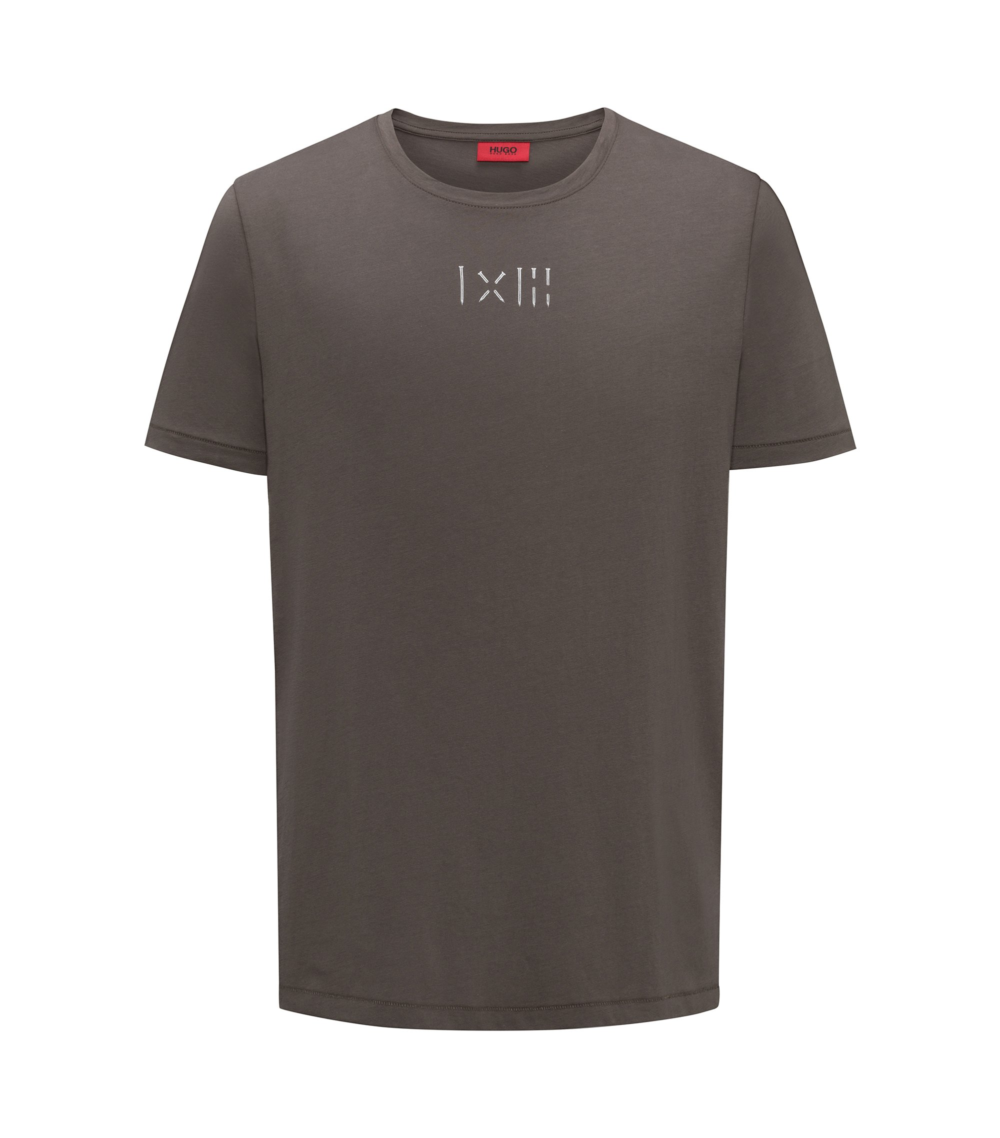 Crew-neck cotton T-shirt with printed graphic, Brown