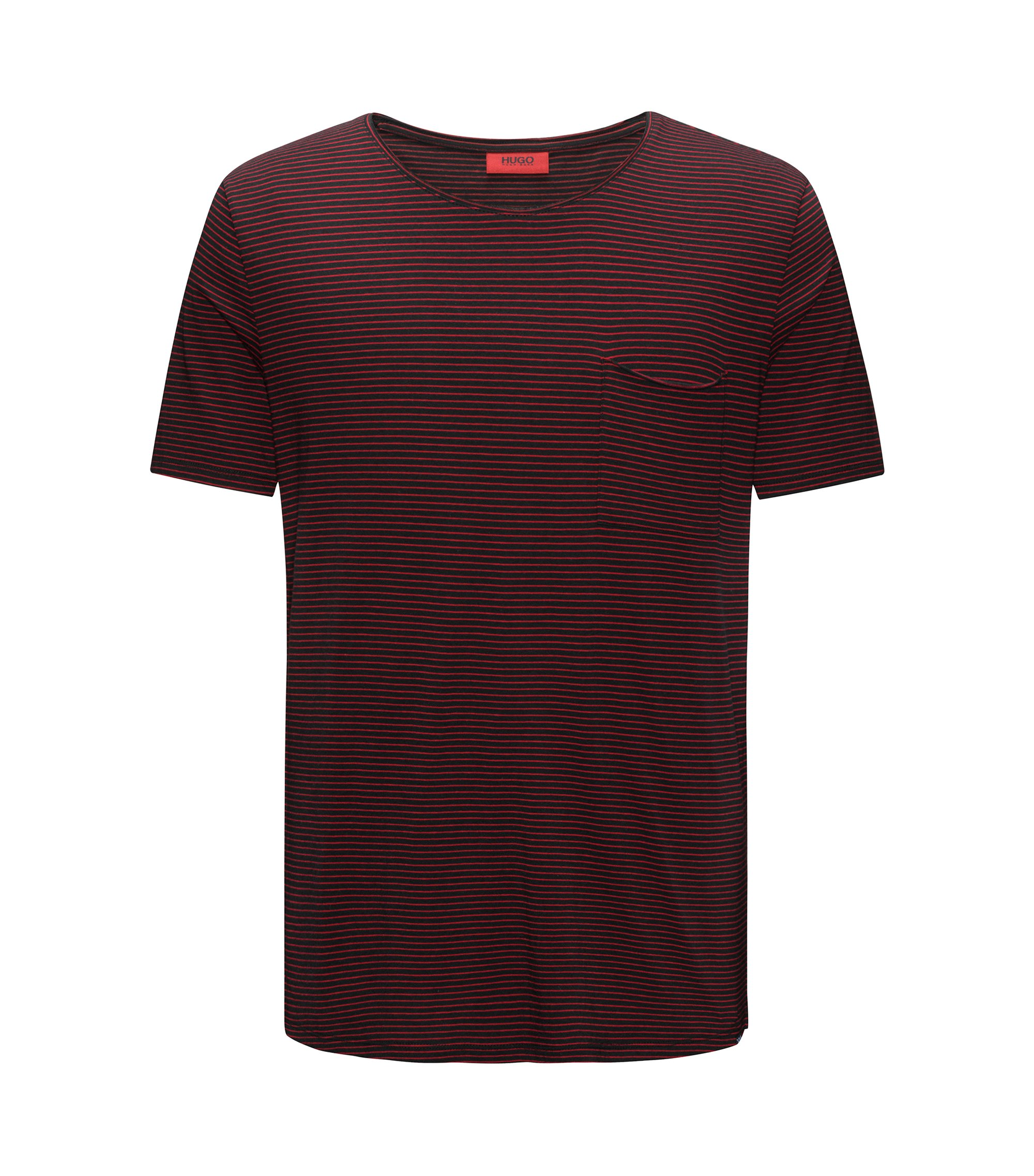 T-shirt a righe relaxed fit in misto cotone, Nero