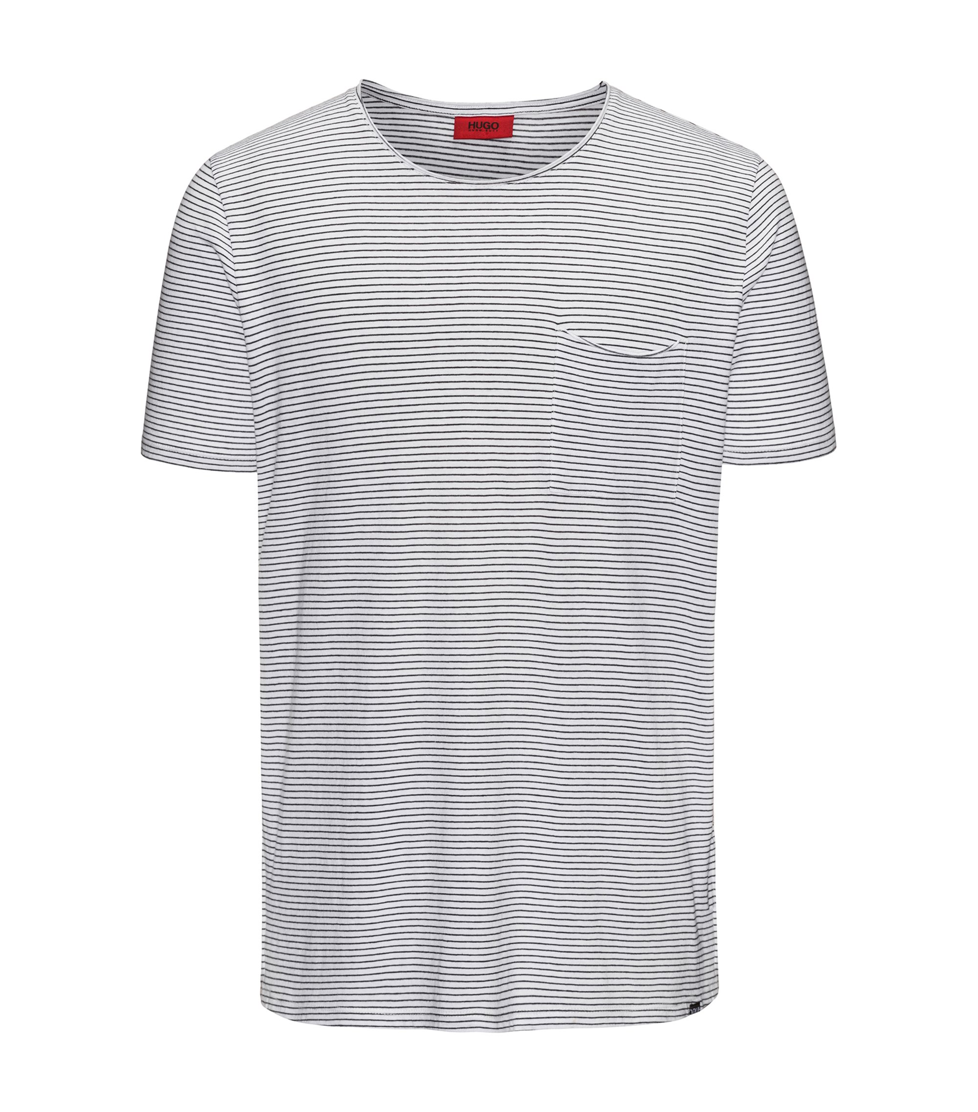 Striped cotton-blend T-shirt in a relaxed fit, White