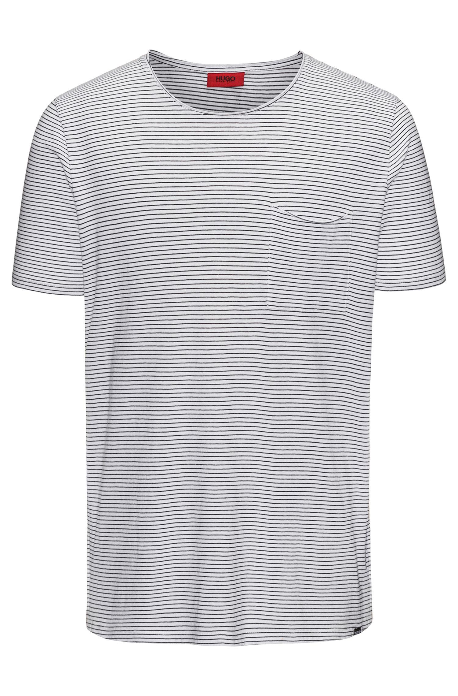Relaxed-fit T-shirt van een katoenmix met strepen