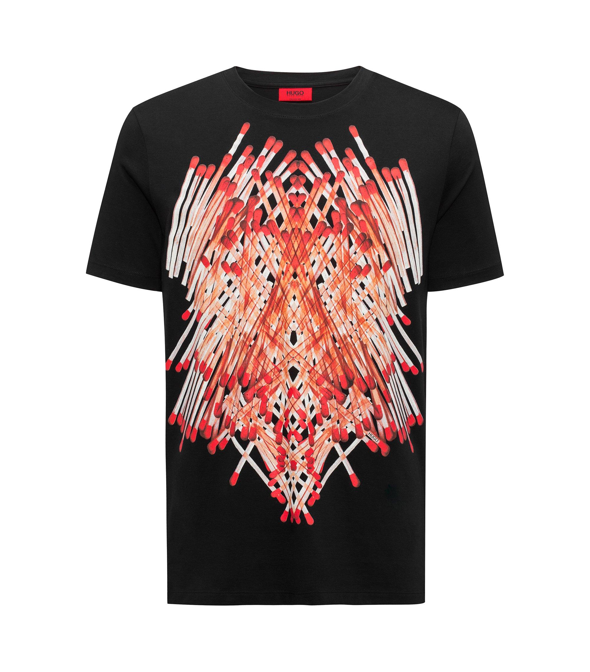Relaxed-Fit T-Shirt aus Pima-Baumwolle mit Streichholz-Print, Schwarz