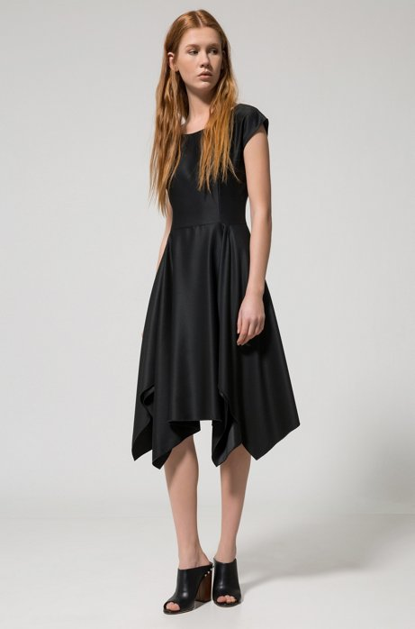 Modern short-sleeved dress with voluminous skirt and uneven hem HUGO BOSS DsAbc