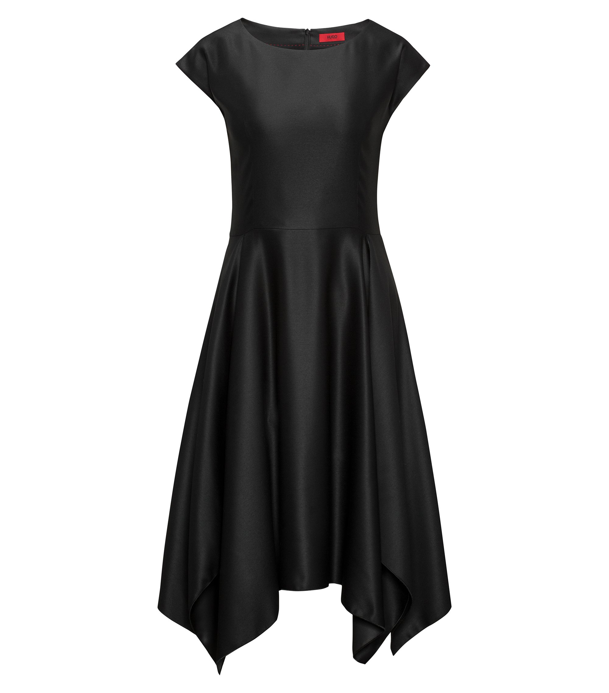 Modern short-sleeved dress with voluminous skirt and uneven hem, Black